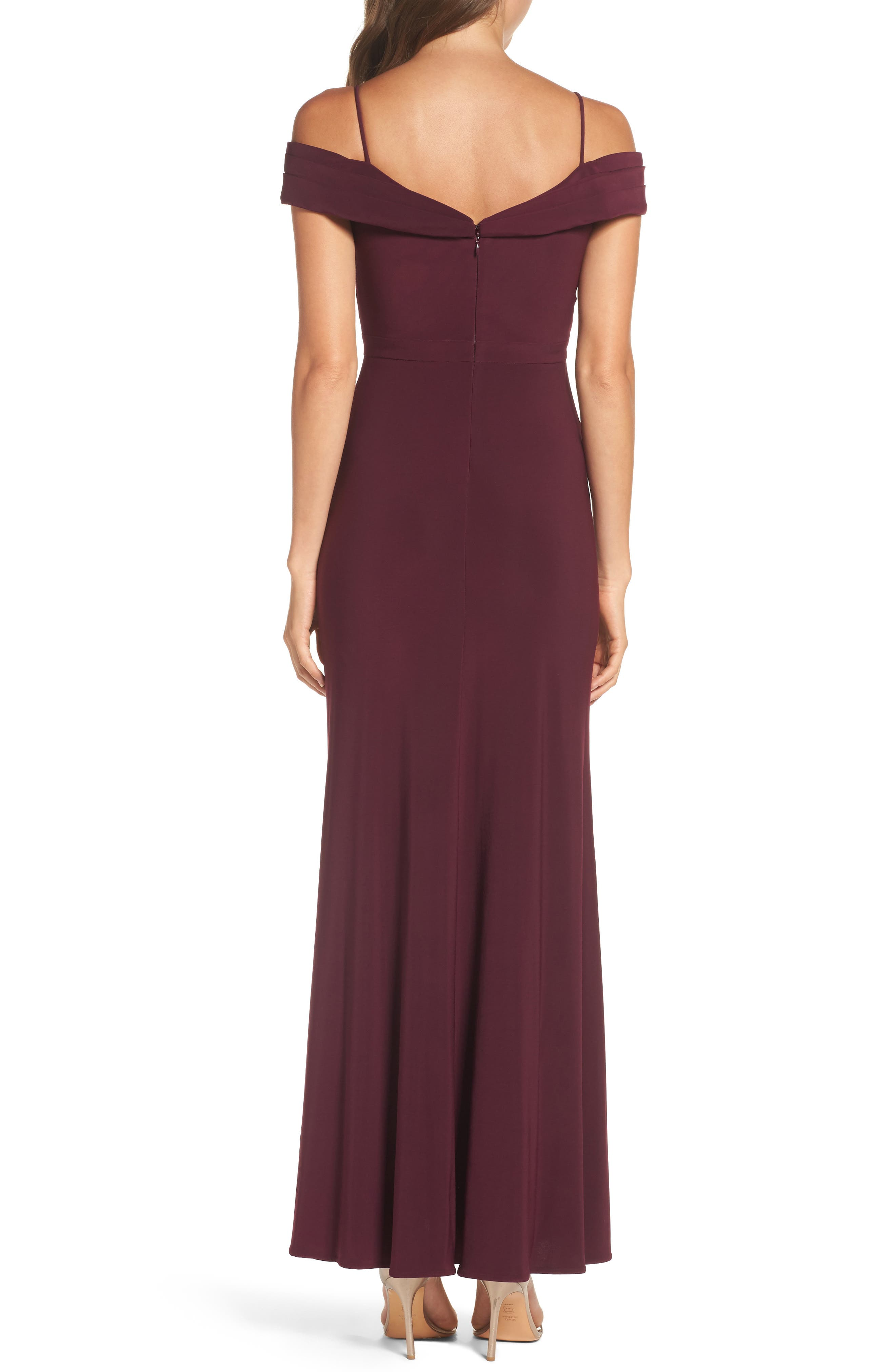 Off the Shoulder Gown,                             Alternate thumbnail 2, color,                             Wine