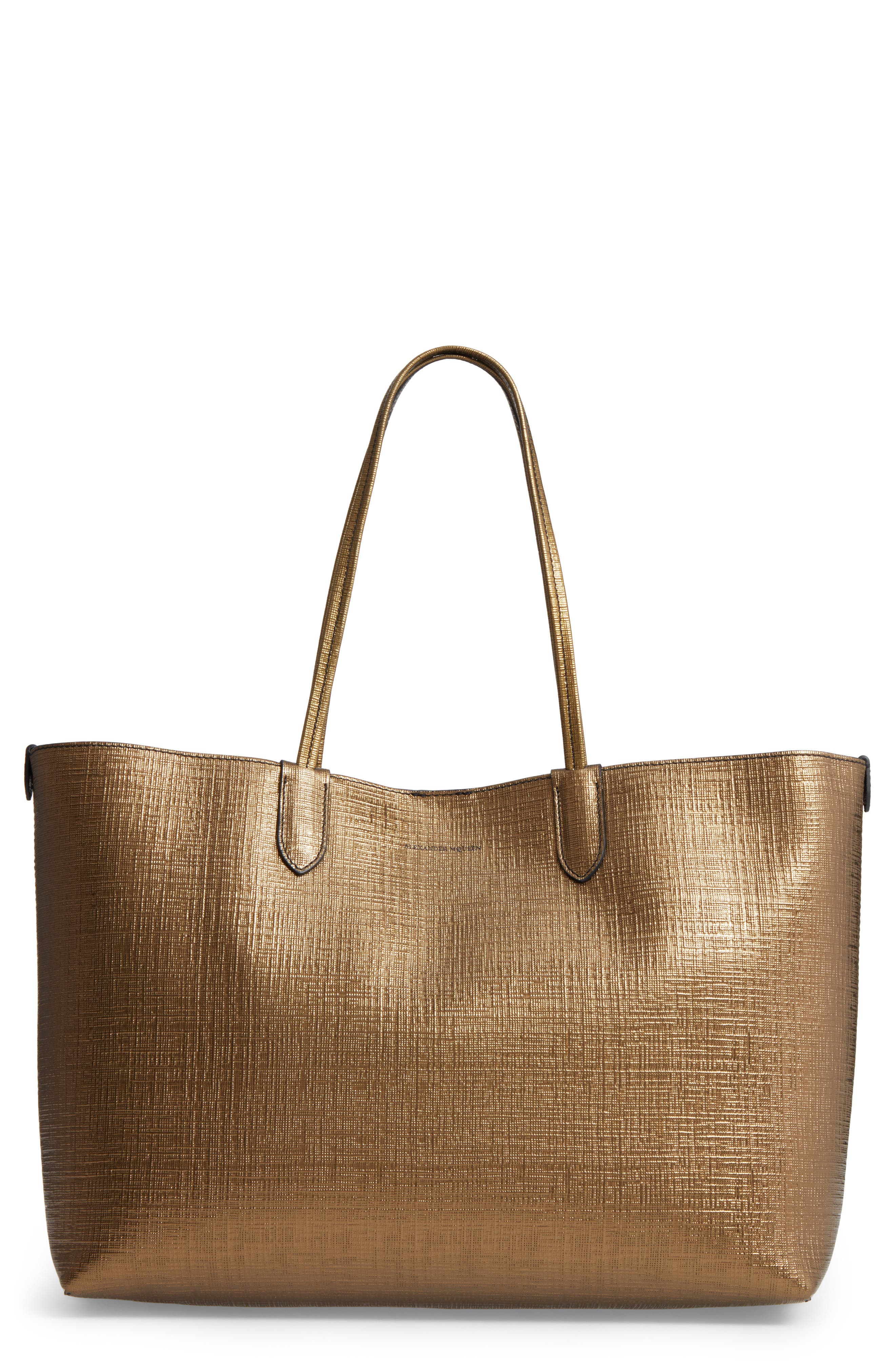 ALEXANDER MCQUEEN Medium Metallic Leather Shopper