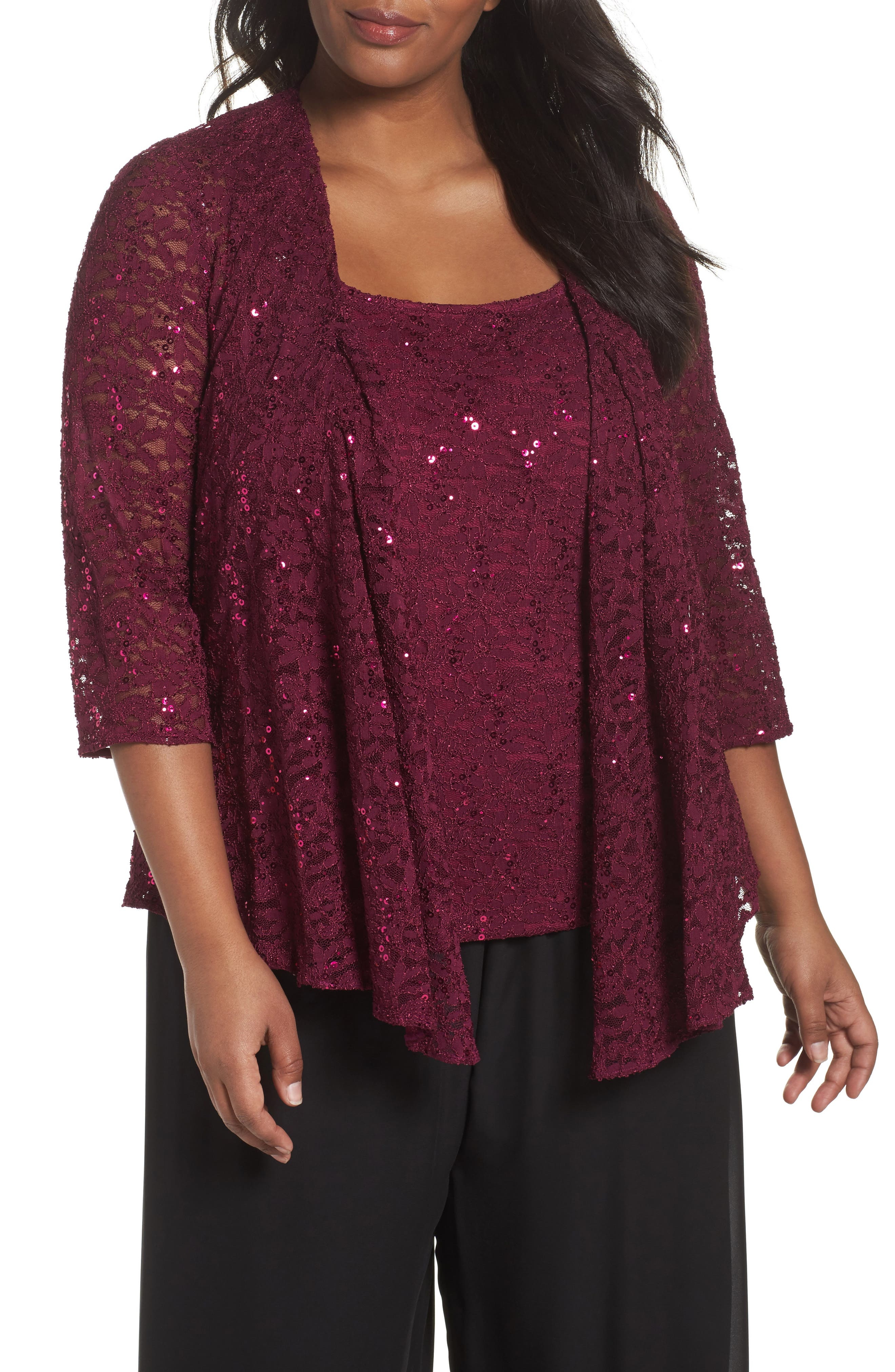 Sequin Lace Twinset,                         Main,                         color, Magenta