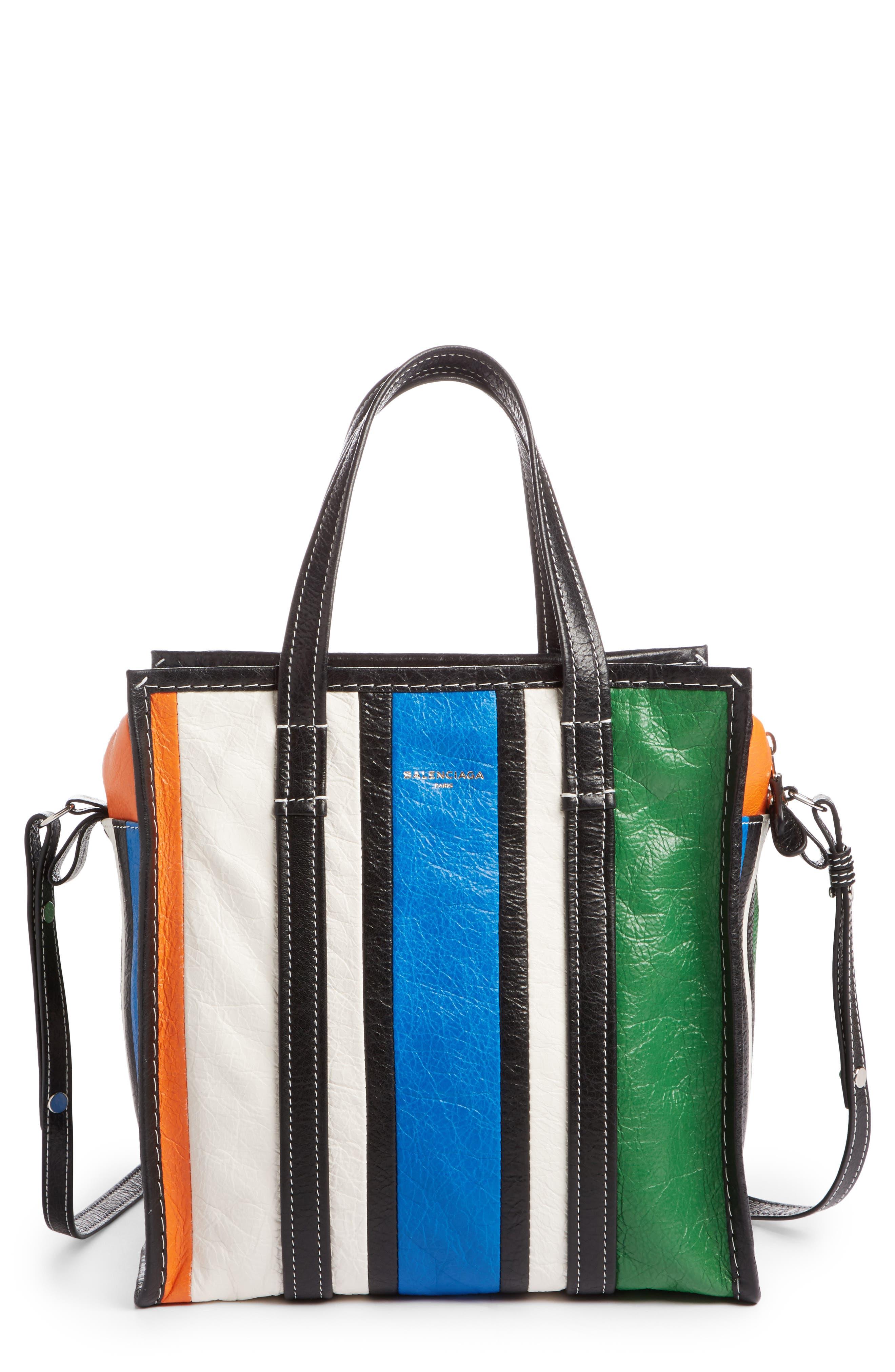 Extra Small Bazar Leather Shopper,                         Main,                         color, Orange/ Blue/ Vert/ Navy