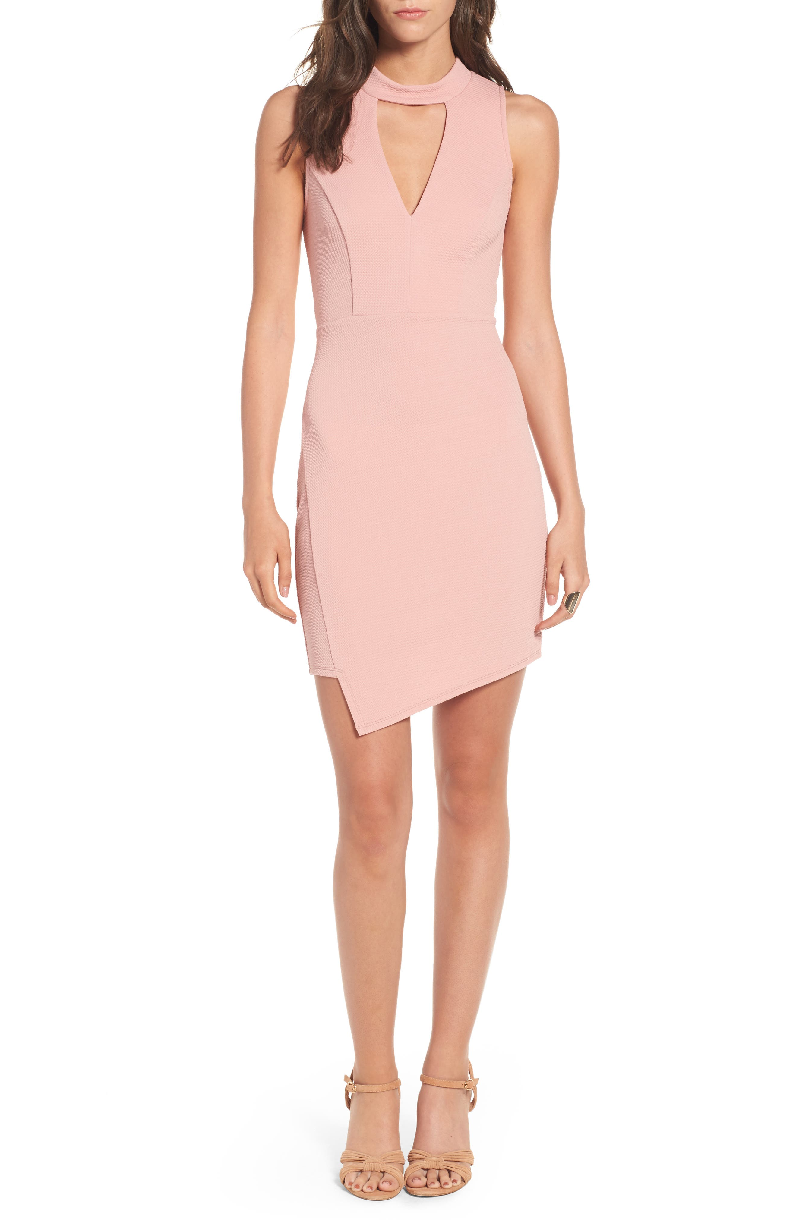 Asymmetrical Body-Con Dress,                         Main,                         color, Dusty Pink