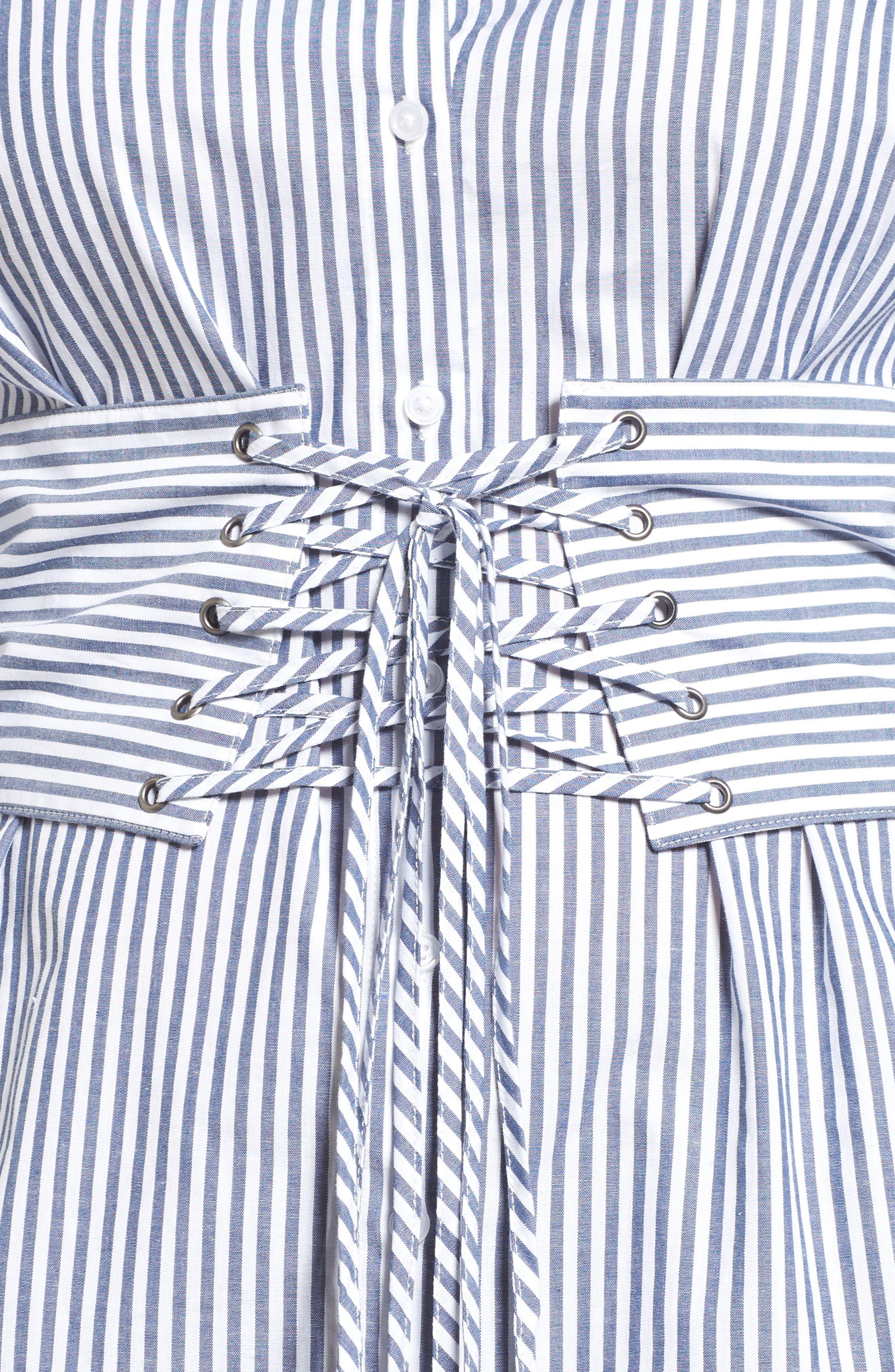 Poplin Corset Blouse,                             Alternate thumbnail 6, color,                             Blue/ White Stripe