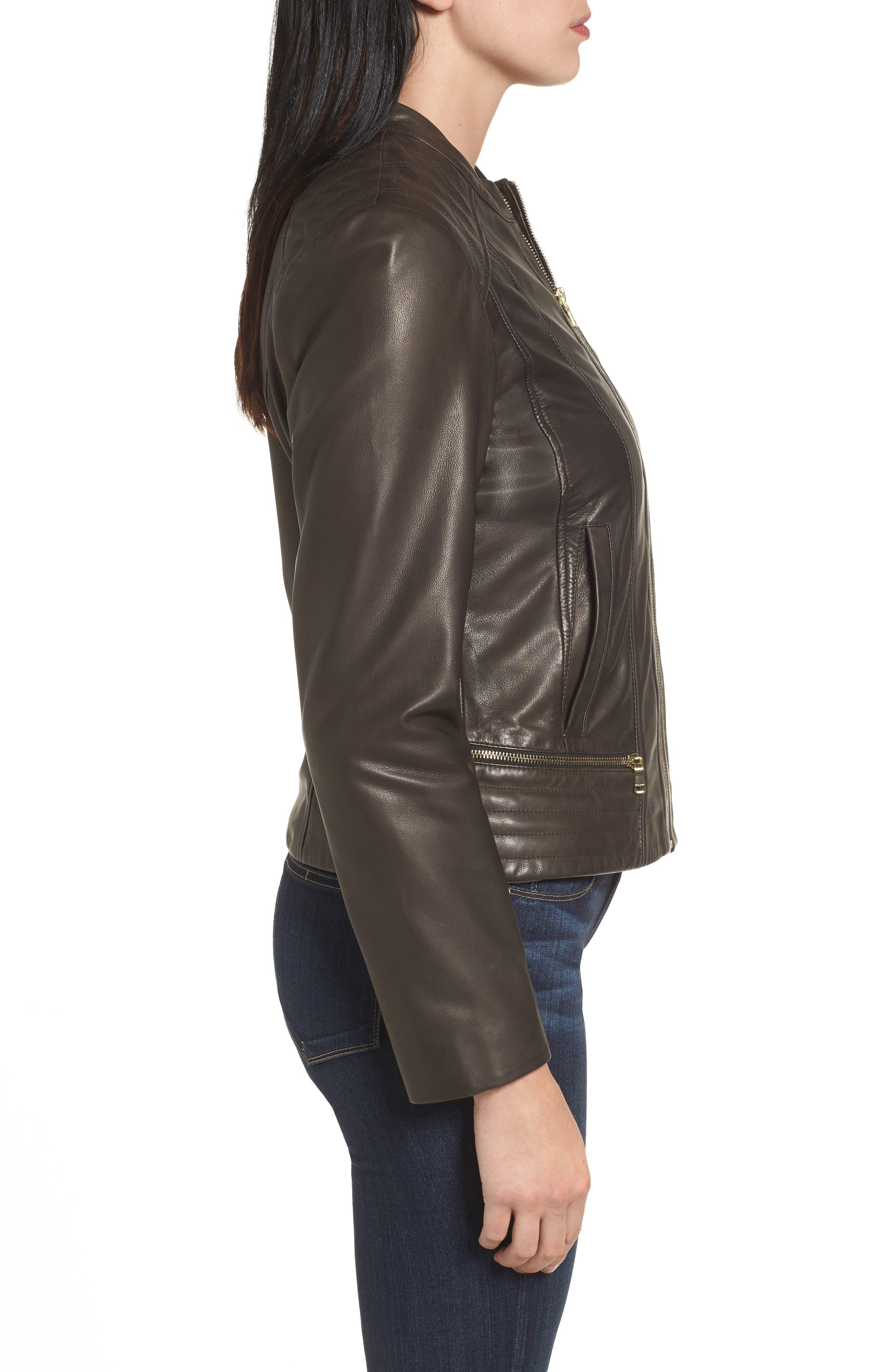 Leather Moto Jacket,                             Alternate thumbnail 3, color,                             Smoke