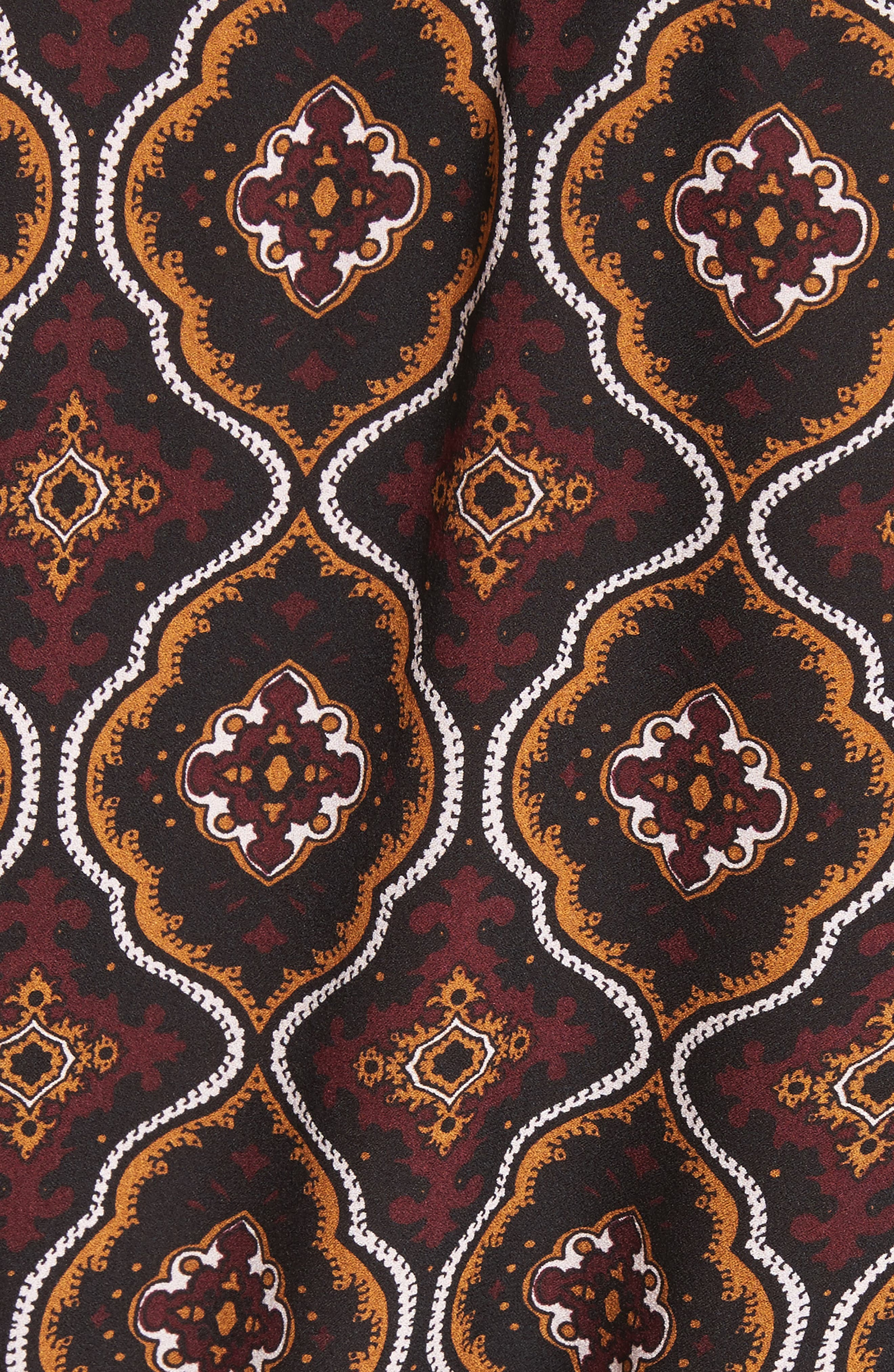Aubrey Print Silk Top,                             Alternate thumbnail 6, color,                             Burgundy/ Gold Multi
