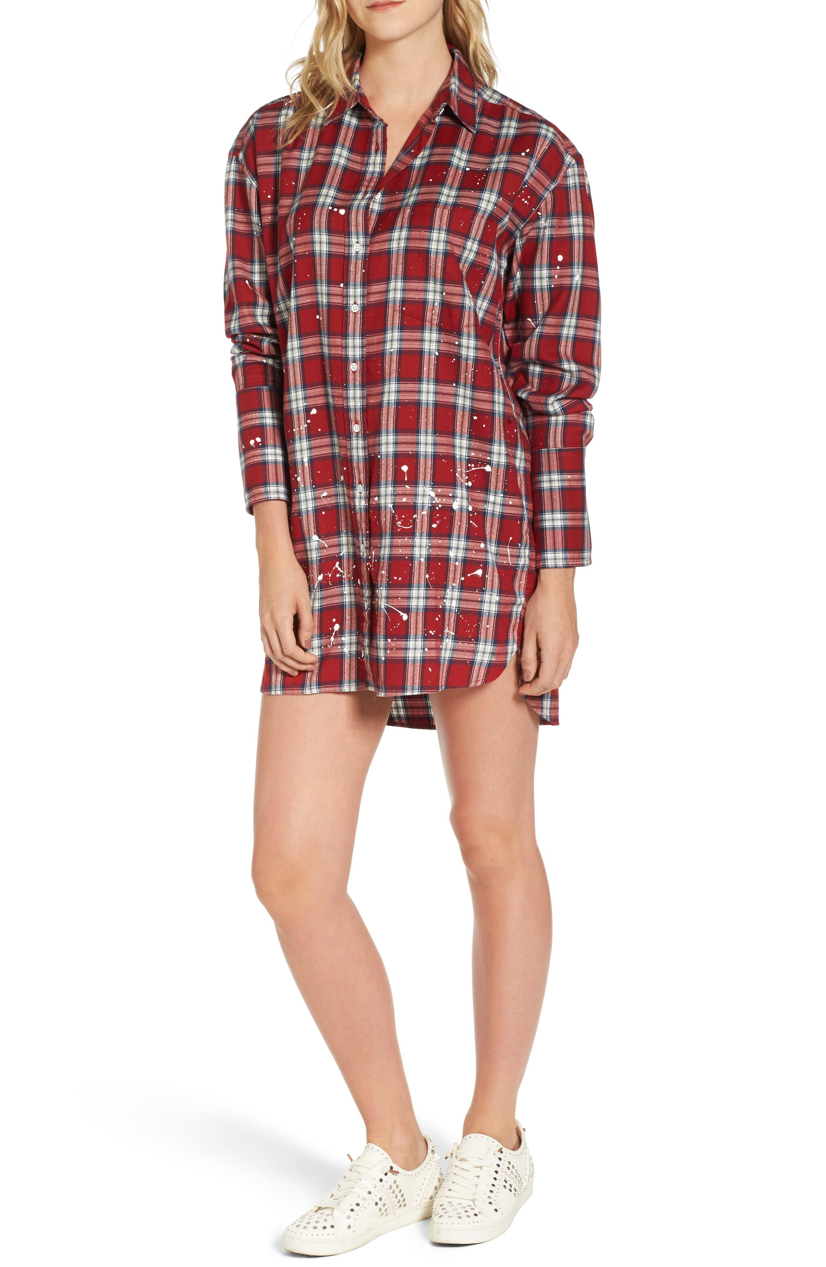 Rivington & Essex Plaid Shirtdress,                         Main,                         color, Red Plaid With Paint