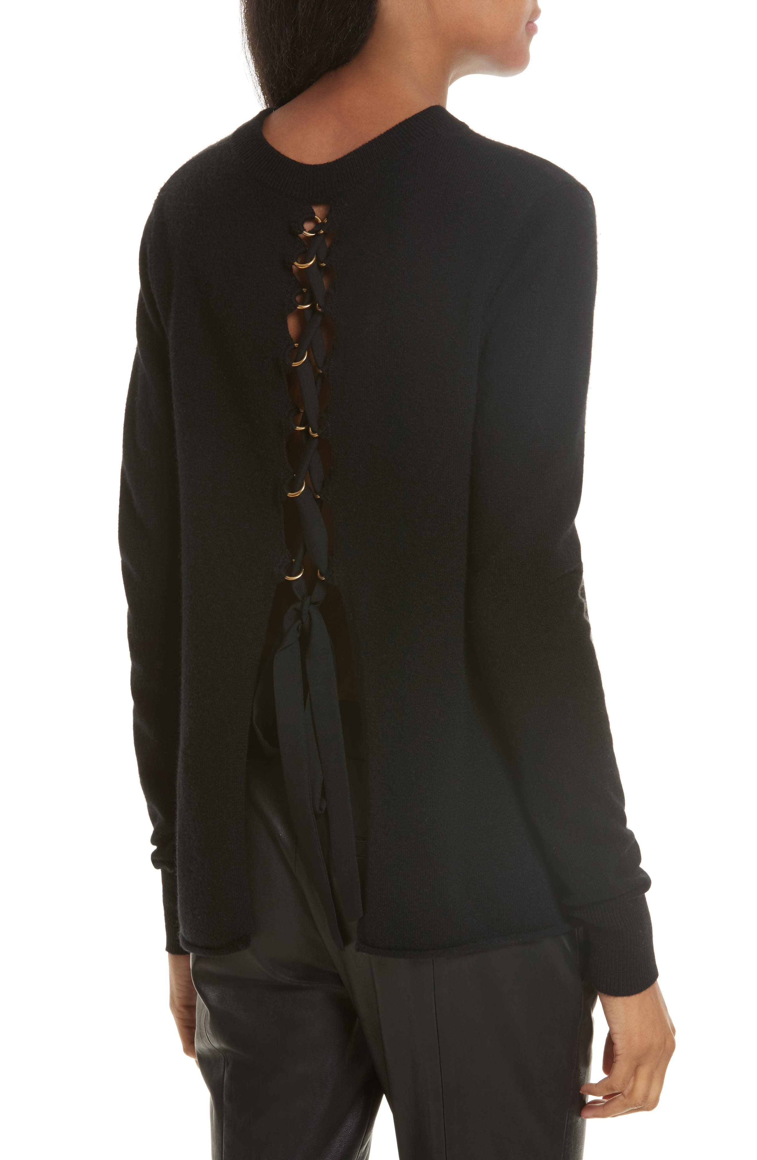 Valerie Lace-Up Wool & Cashmere Sweater,                         Main,                         color, Black
