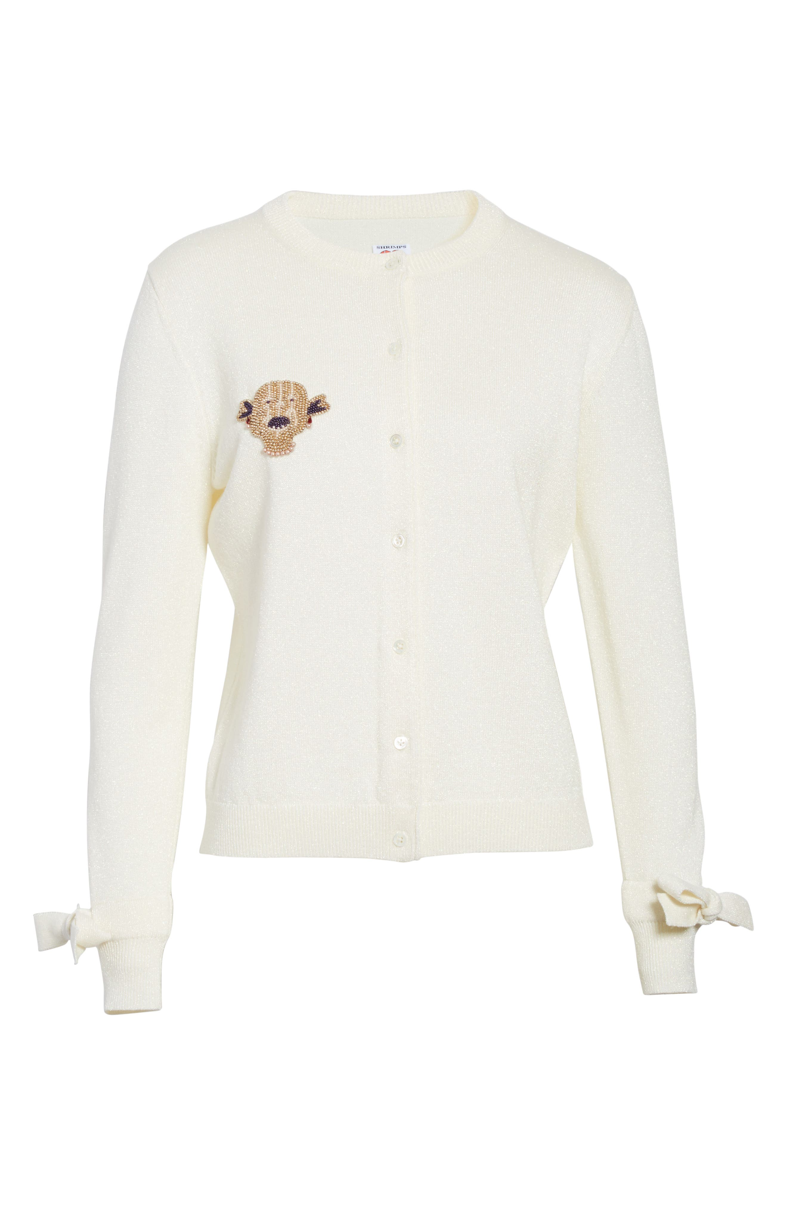 Lorna Embellished Bow Cuff Cardigan,                             Alternate thumbnail 6, color,                             Cream Lurex