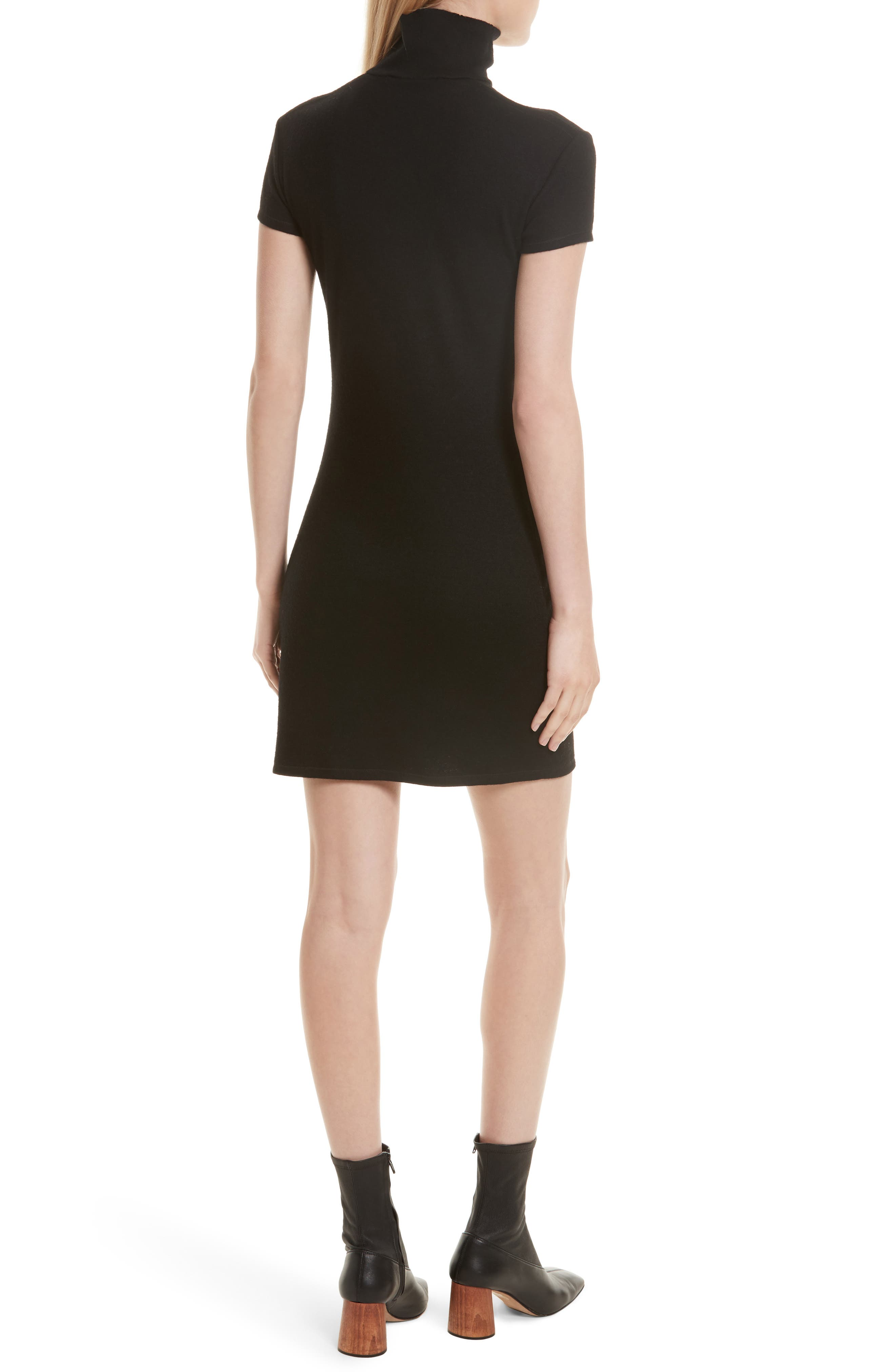 Cutout Wool Blend Dress,                             Alternate thumbnail 2, color,                             Black