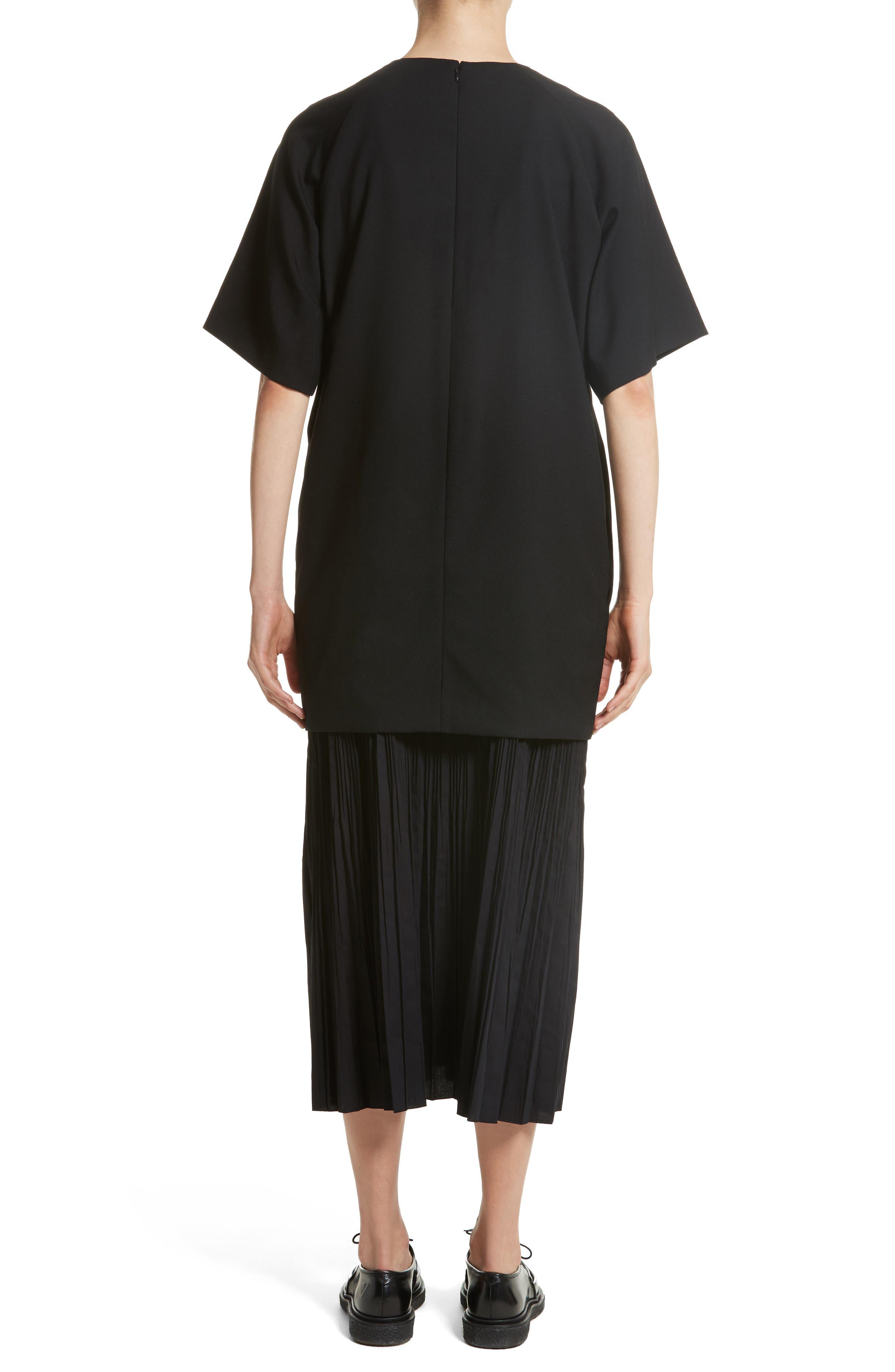 K Bottom Pleated Dress,                             Alternate thumbnail 2, color,                             Black