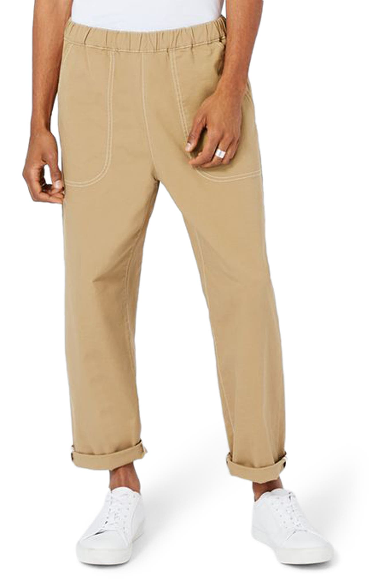 Topman LTD Collection Roll Hem Elastic Waist Chinos