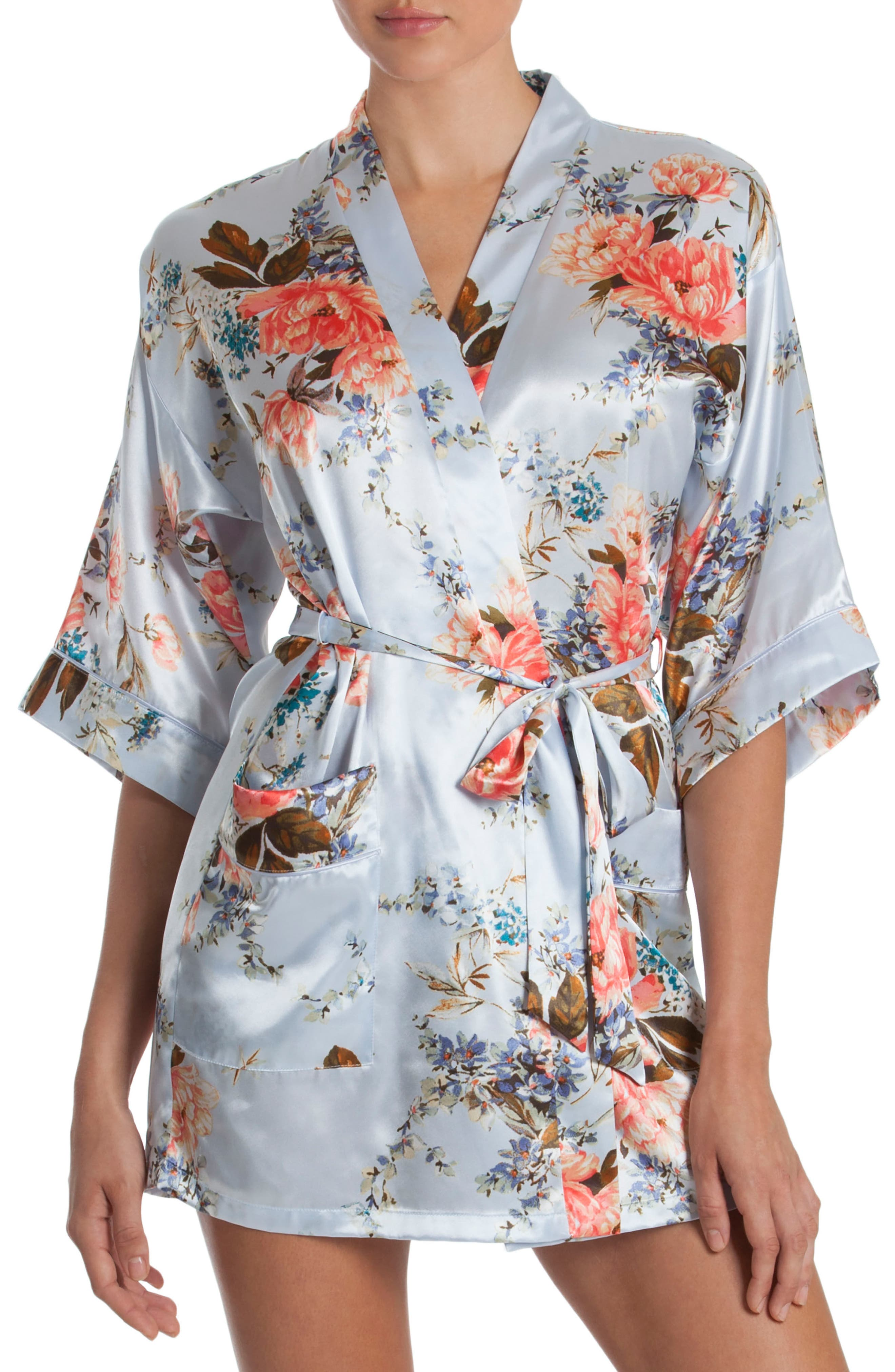 Alternate Image 1 Selected - In Bloom by Jonquil Floral Print Satin Robe