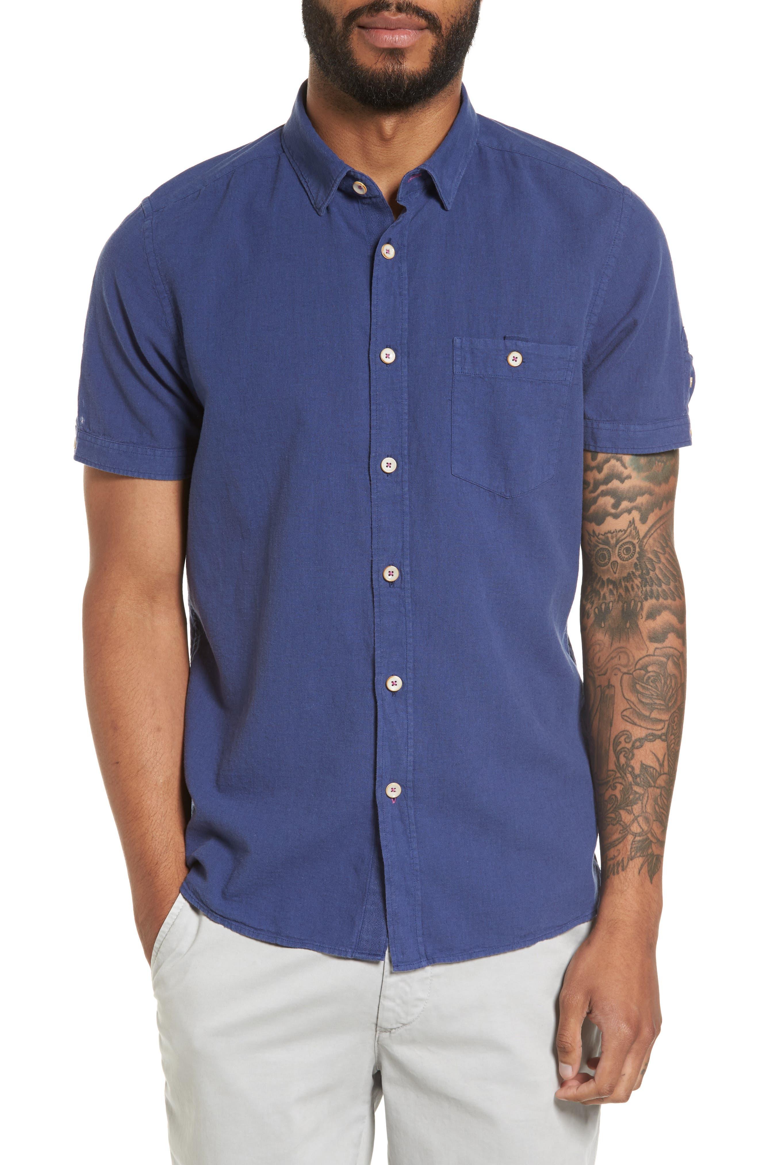 Shrwash Modern Slim Fit Sport Shirt,                         Main,                         color, Navy