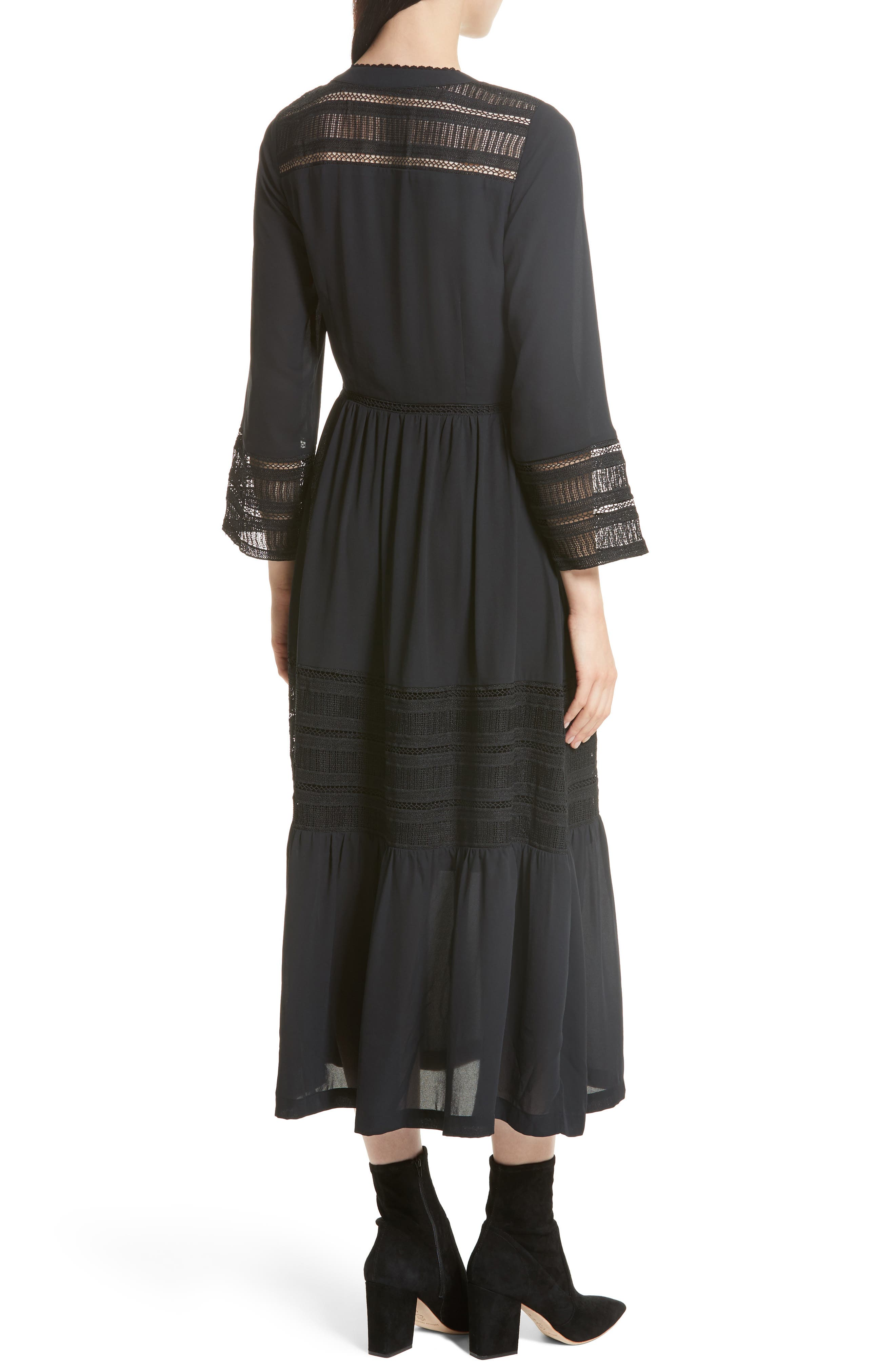 Daphne A-Line Dress,                             Alternate thumbnail 2, color,                             Black