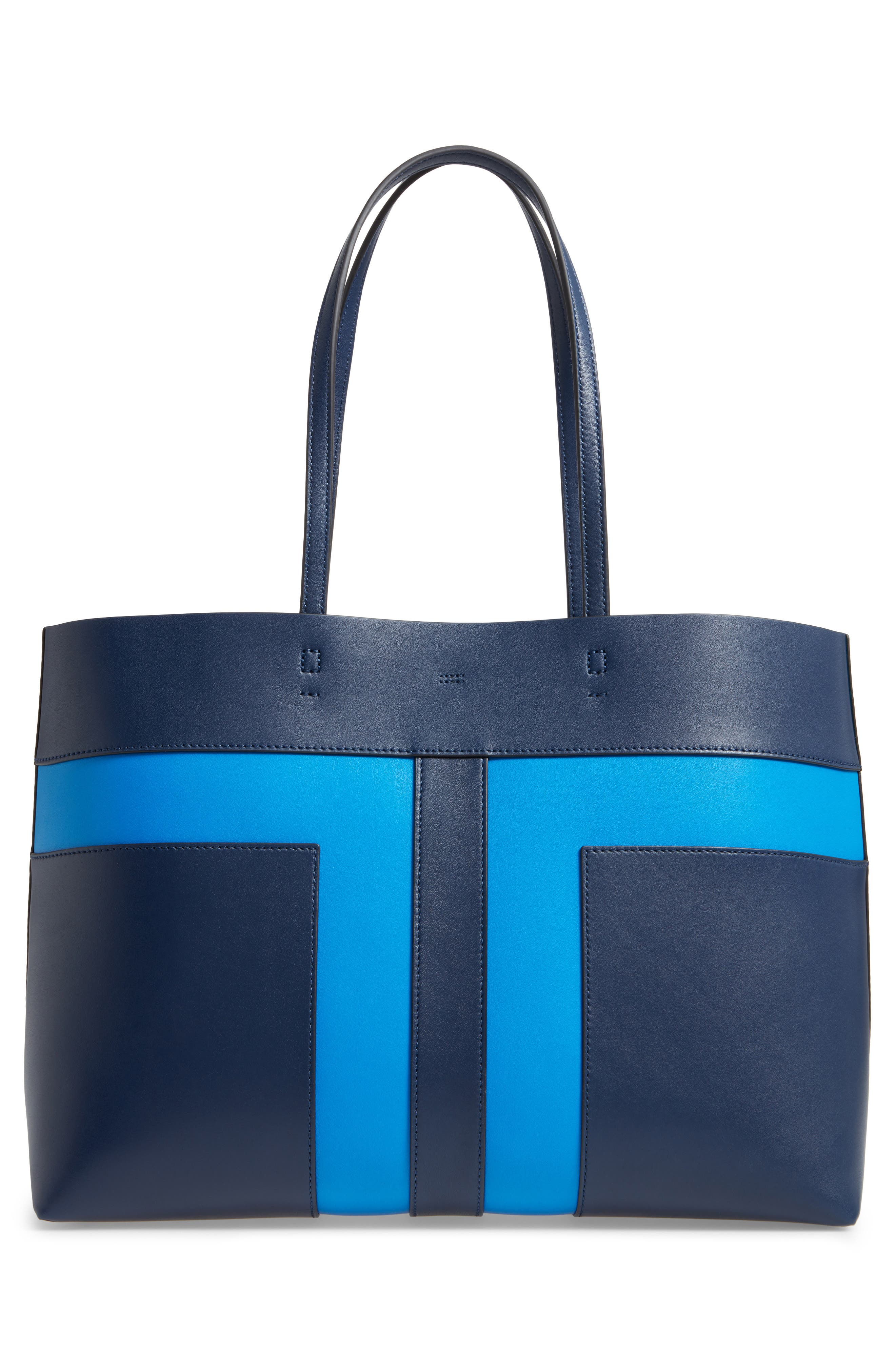Block T Leather Tote,                             Alternate thumbnail 3, color,                             Royal Navy/ Galleria Blue