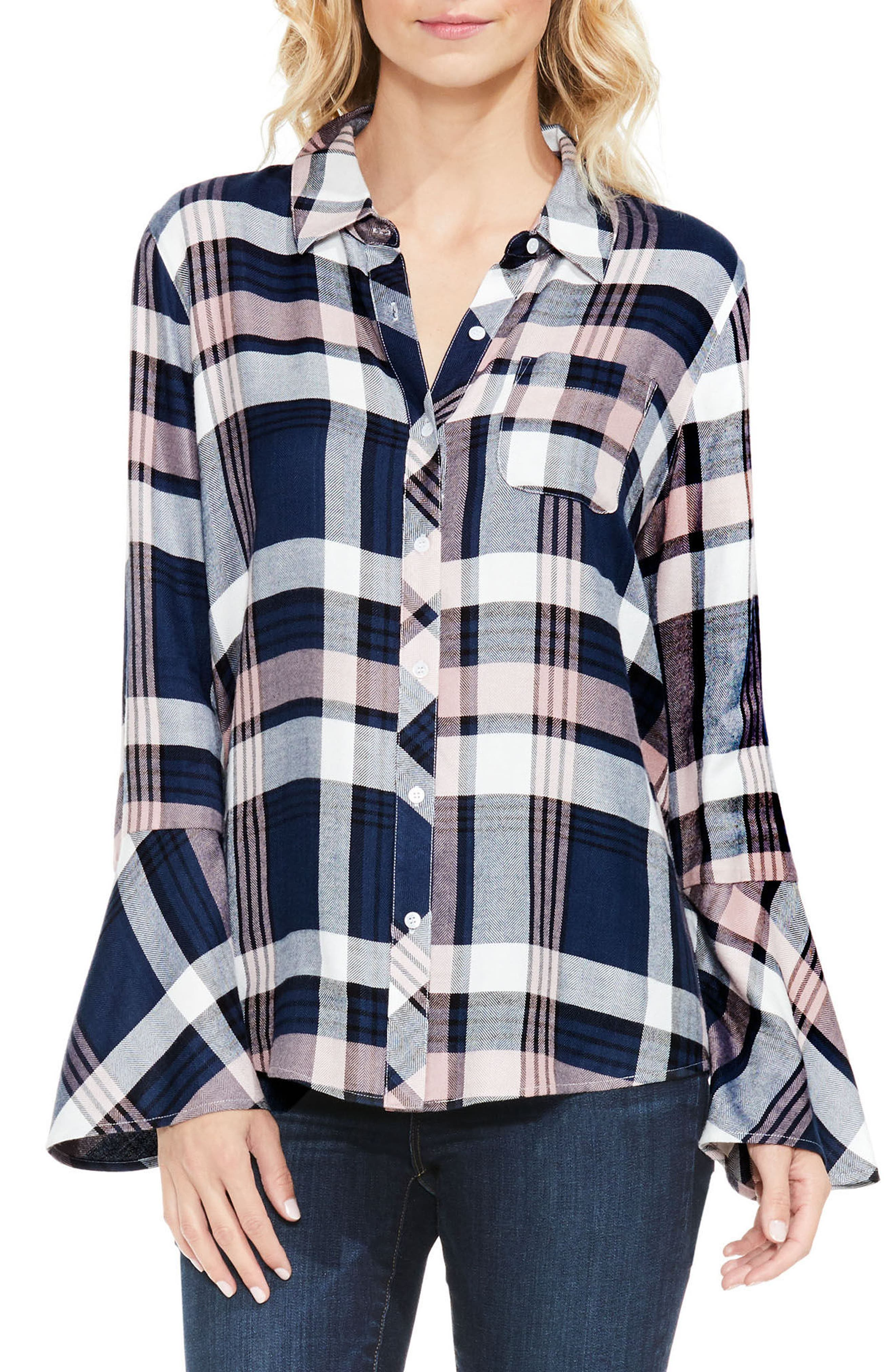 Main Image - Two by Vince Camuto Plaid Bell Sleeve Shirt