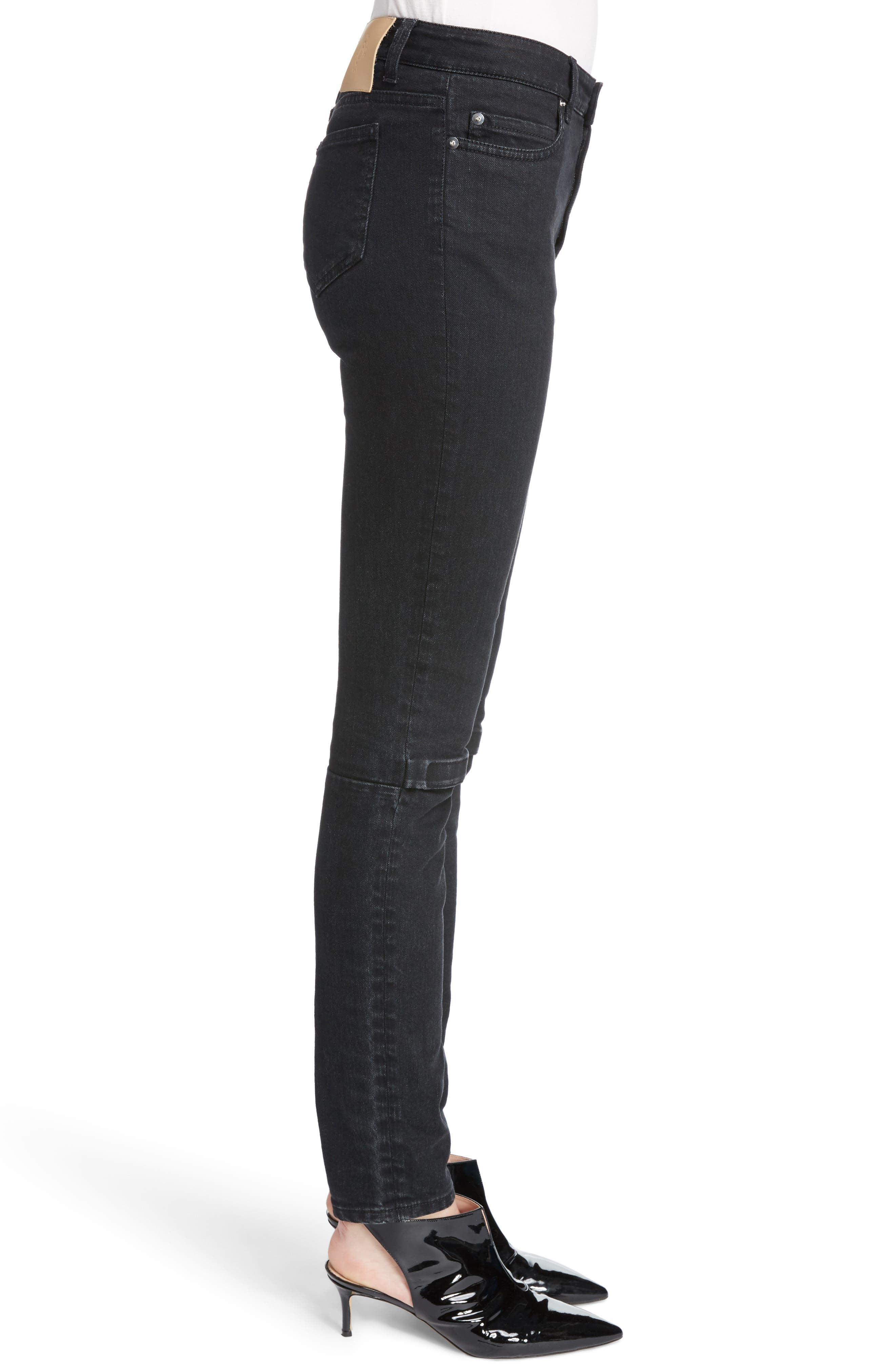 Hook & Loop Fly Skinny Jeans,                             Alternate thumbnail 3, color,                             Black