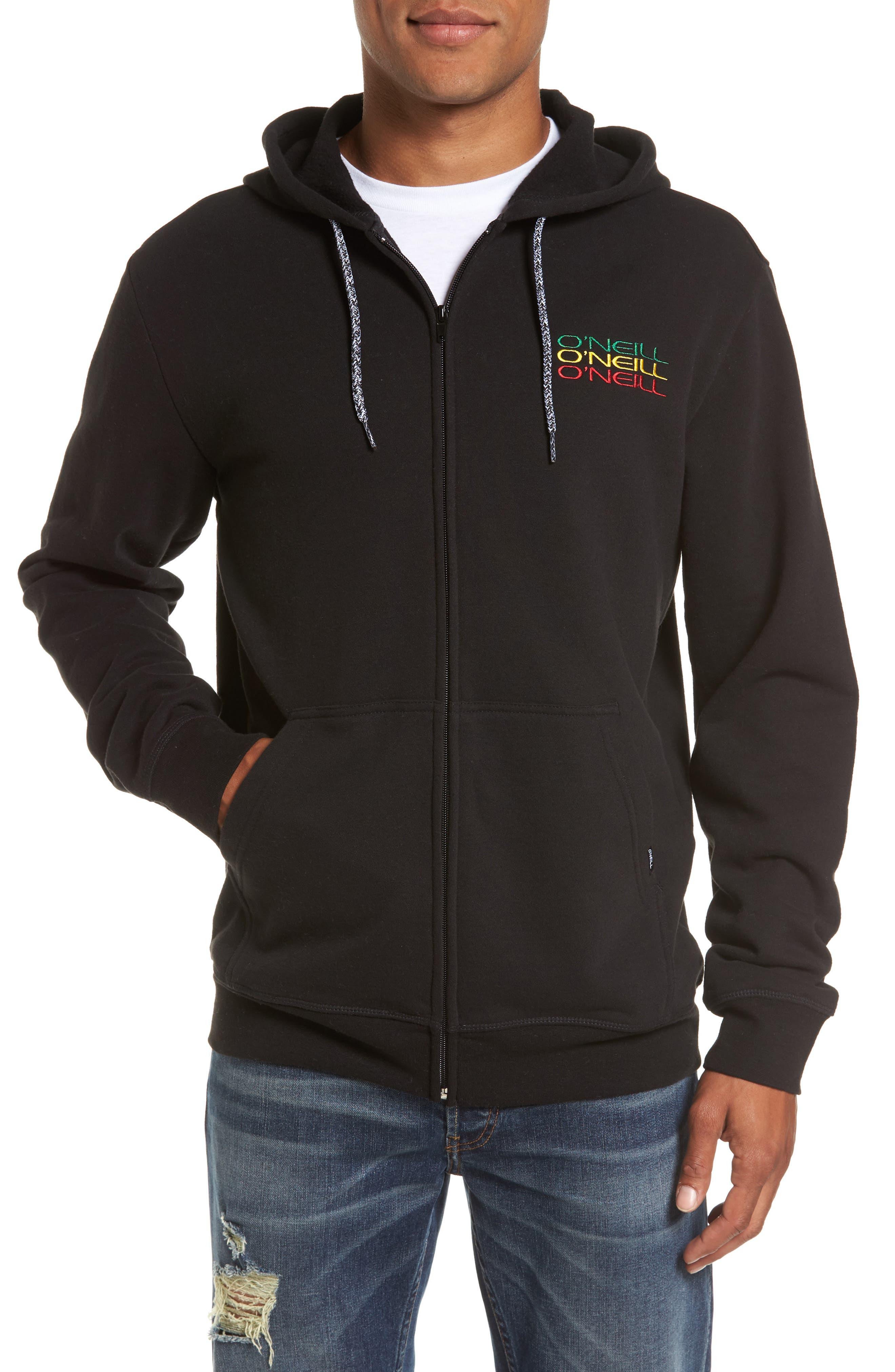 Triple Stack Zip Hoodie,                         Main,                         color, Black