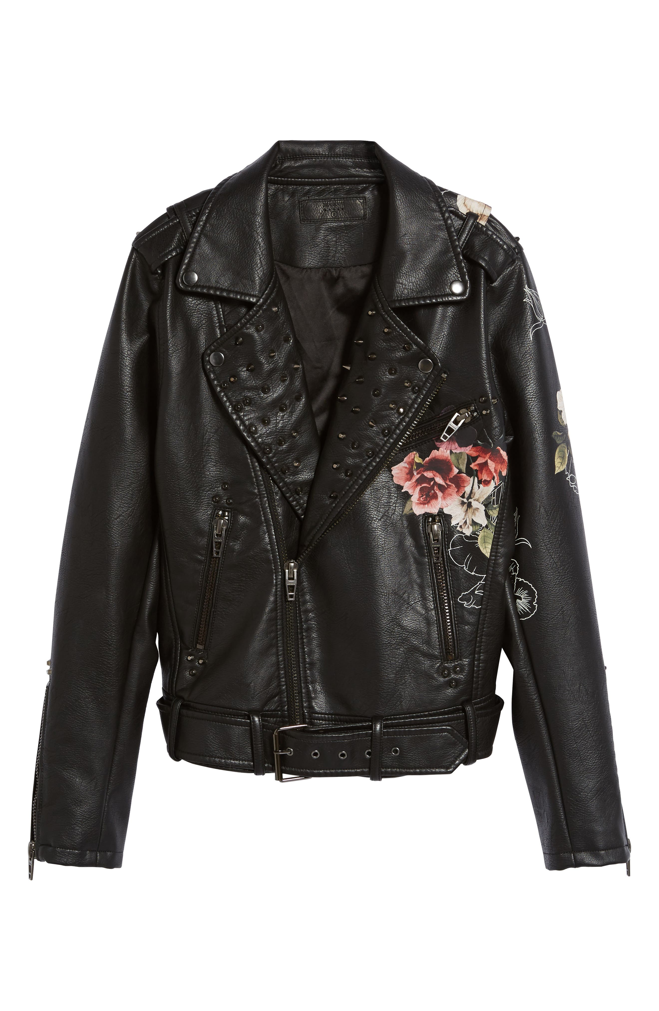 Printed Faux Leather Moto Jacket,                             Alternate thumbnail 7, color,                             Love And Leave