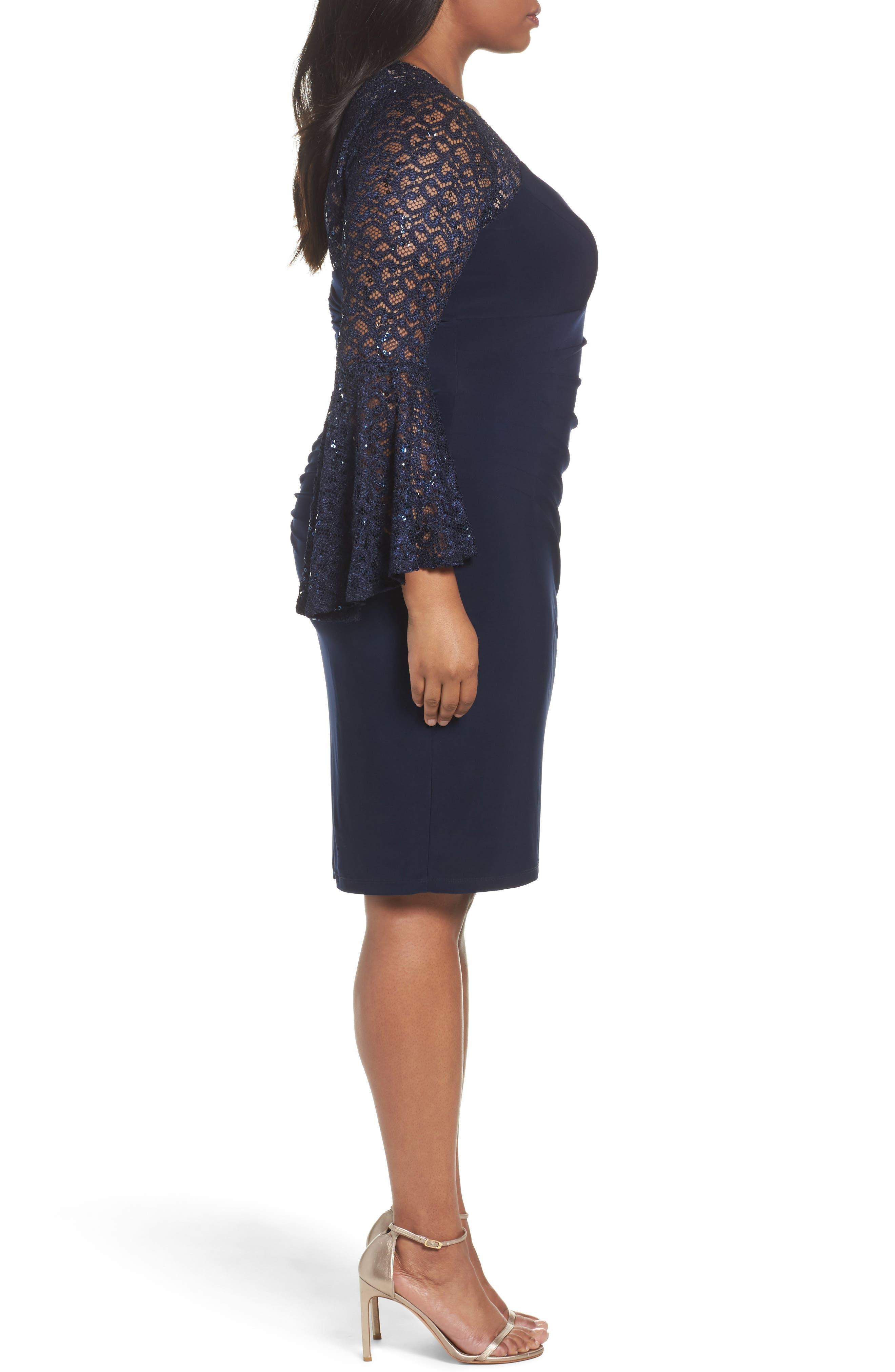 Alternate Image 3  - Xscape Ruched Lace Sleeve Sheath Dress (Plus Size)