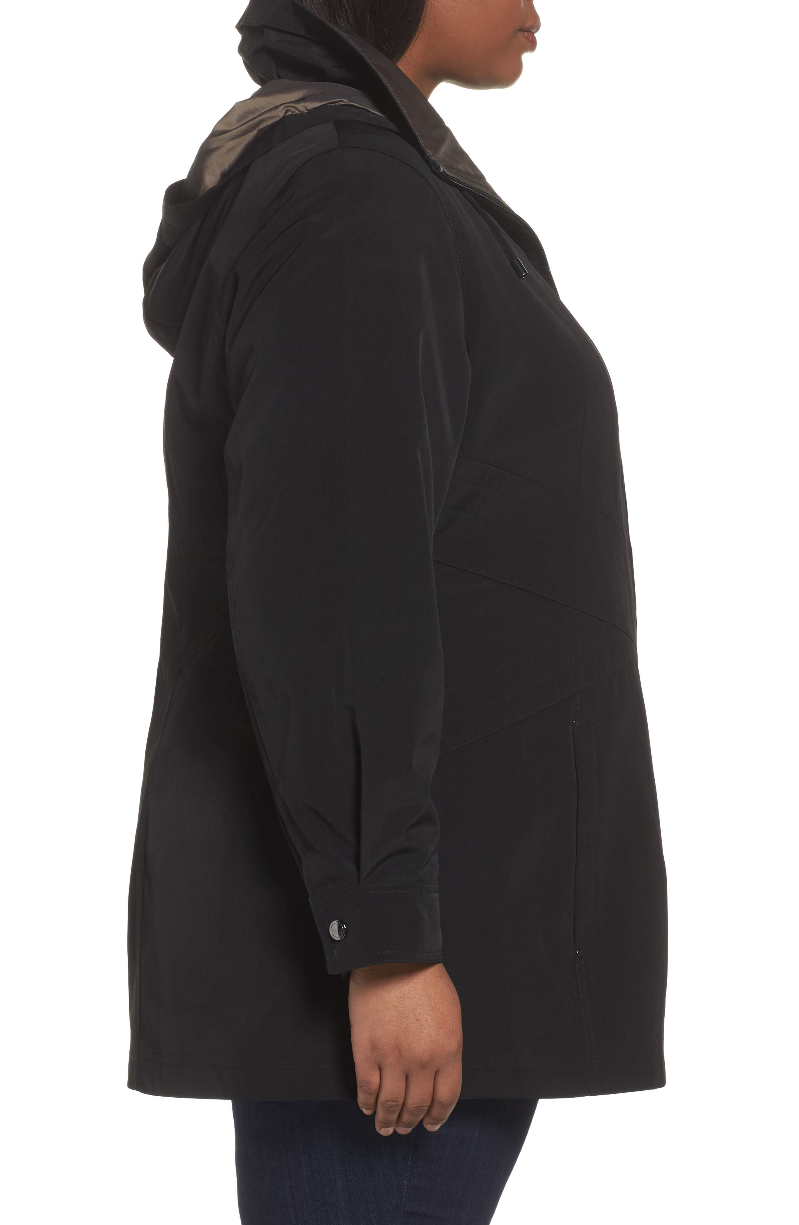 Alternate Image 3  - Gallery Two-Tone Long Silk Look Raincoat (Plus Size)