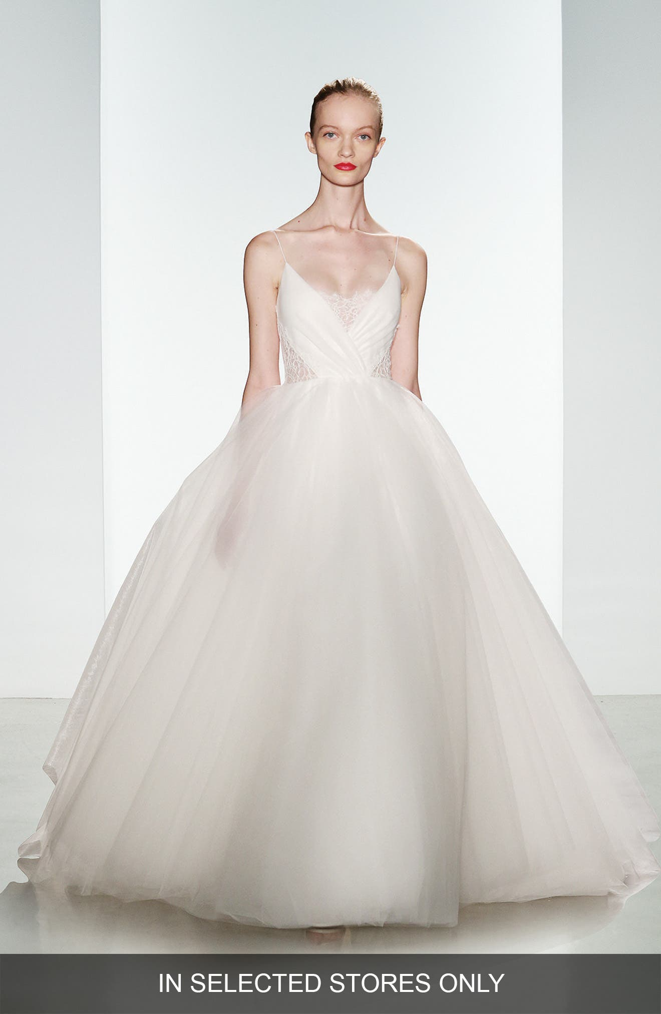 Penny Lace Inset Spaghetti Strap Tulle Ballgown,                         Main,                         color, Ivory