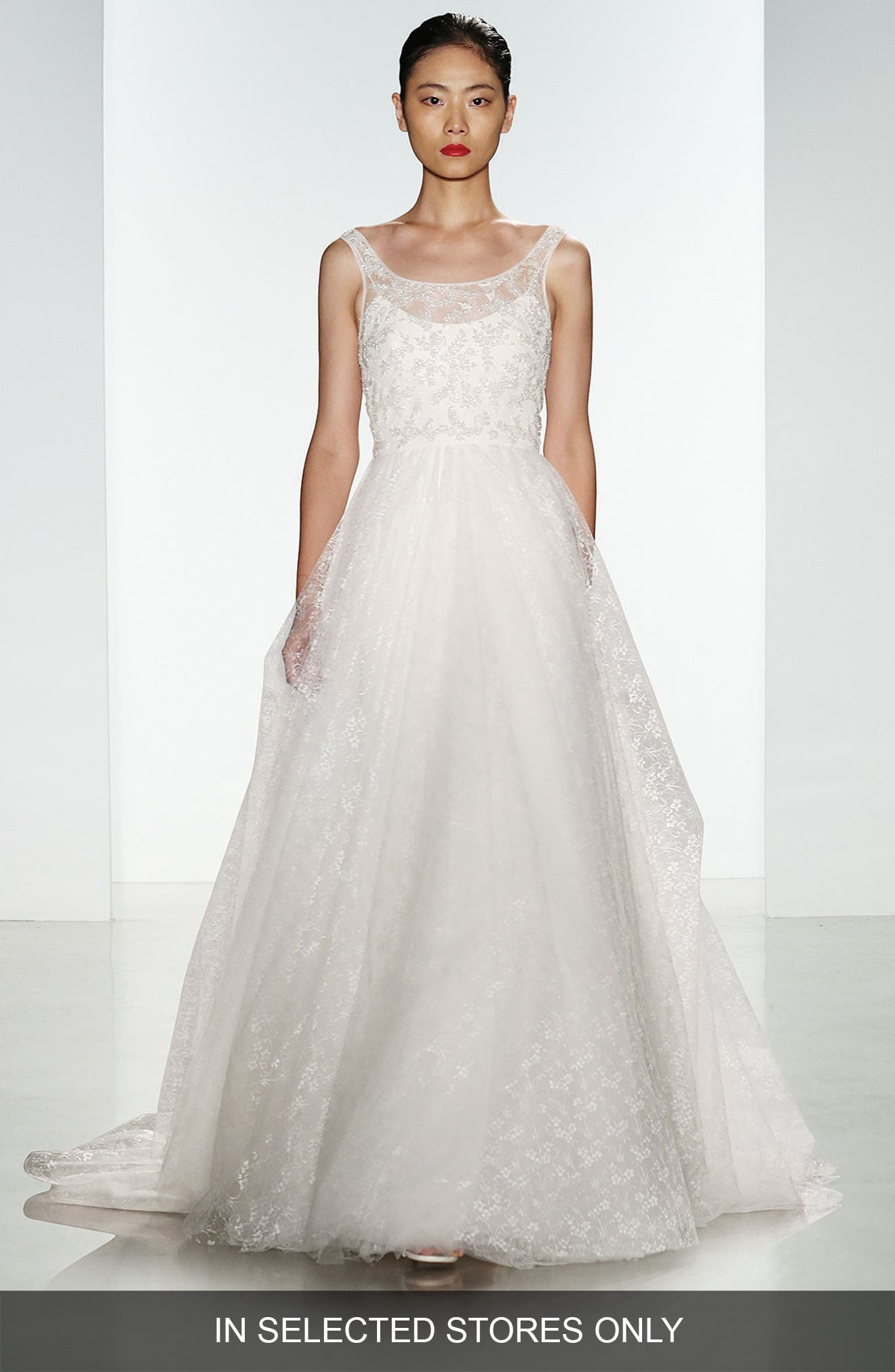 Claire Beaded Chantilly Lace & Floral Tulle Ballgown,                         Main,                         color, Ivory