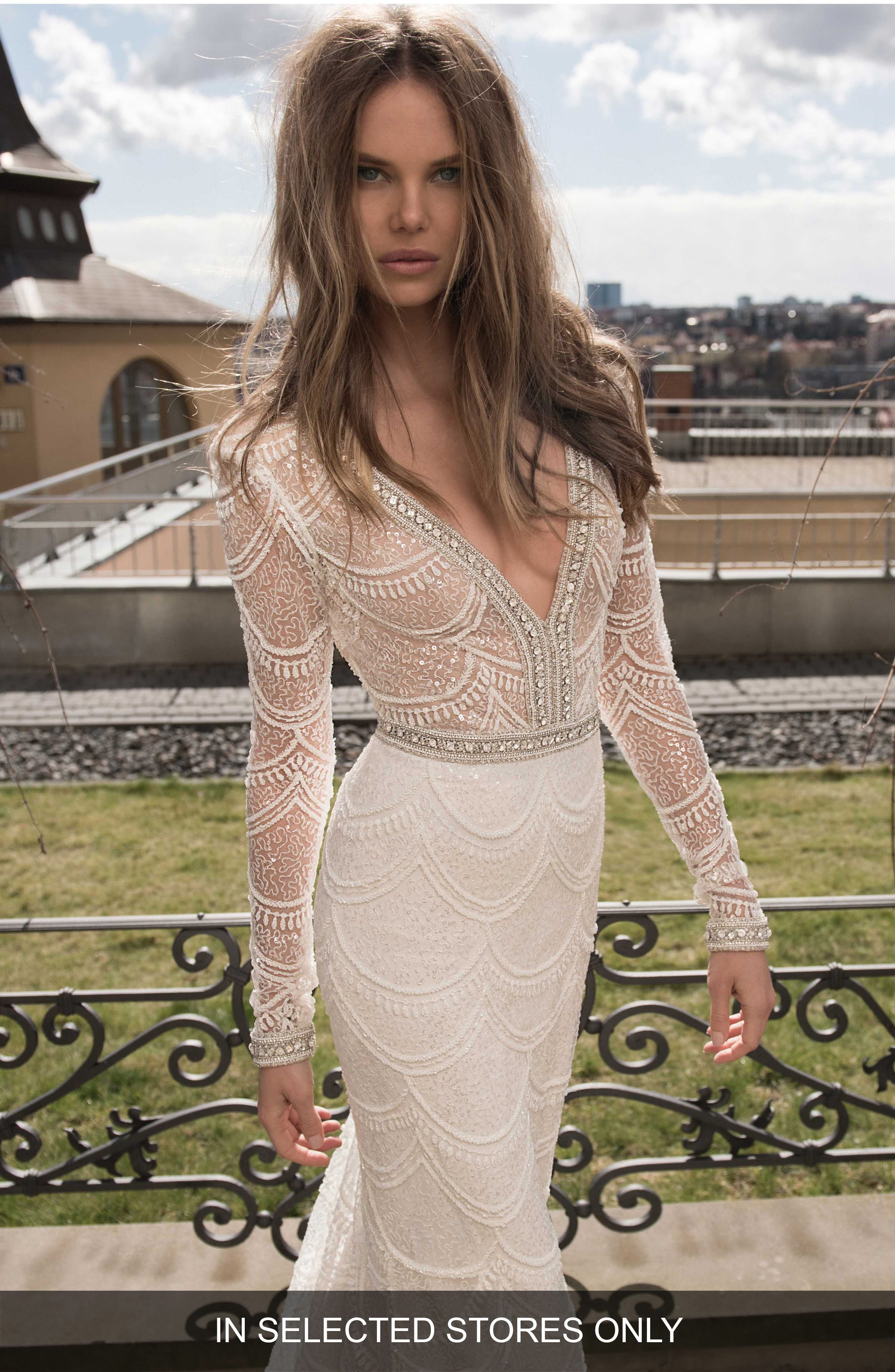 Embellished Mesh Mermaid Gown,                         Main,                         color, Ivory