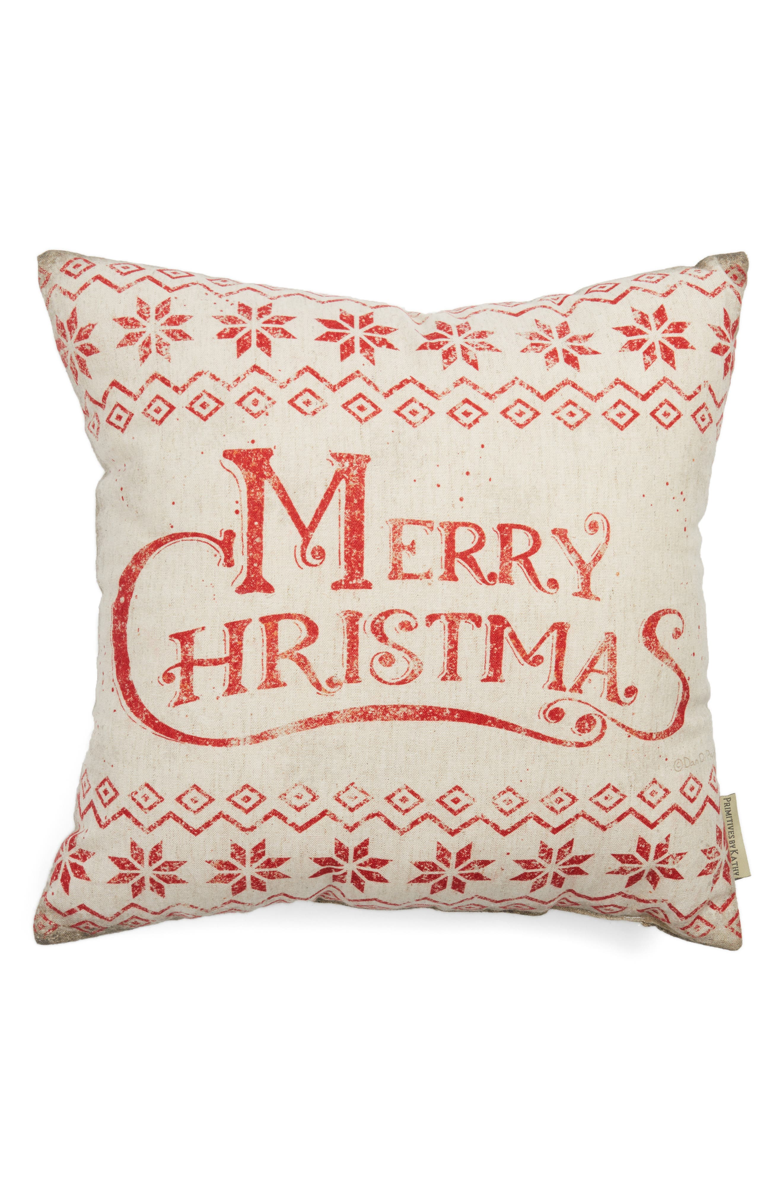 Merry Christmas Pillow,                             Alternate thumbnail 2, color,                             Ivory
