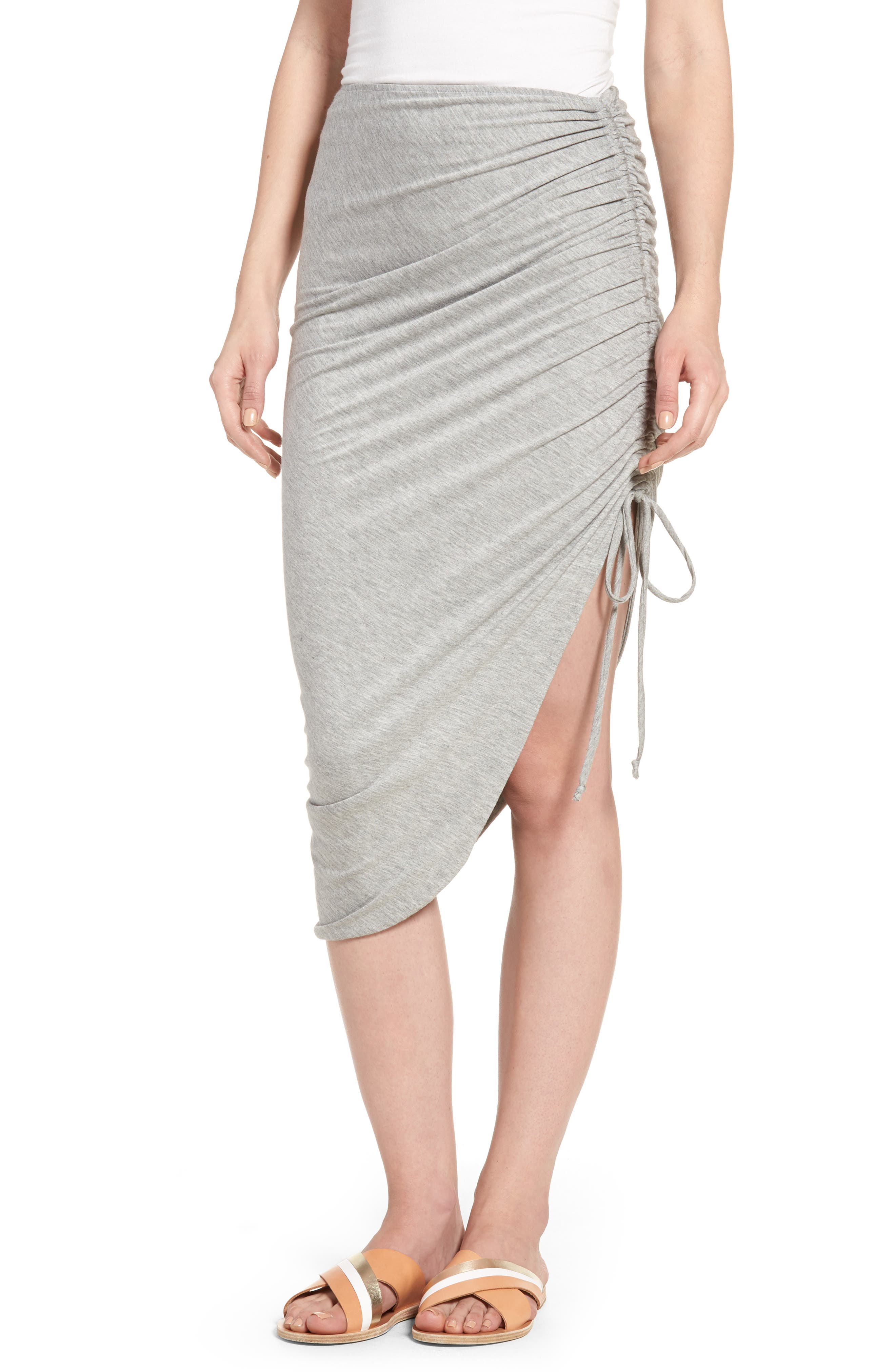 Zoe Ruched Knit Skirt,                             Main thumbnail 1, color,                             Heather Grey