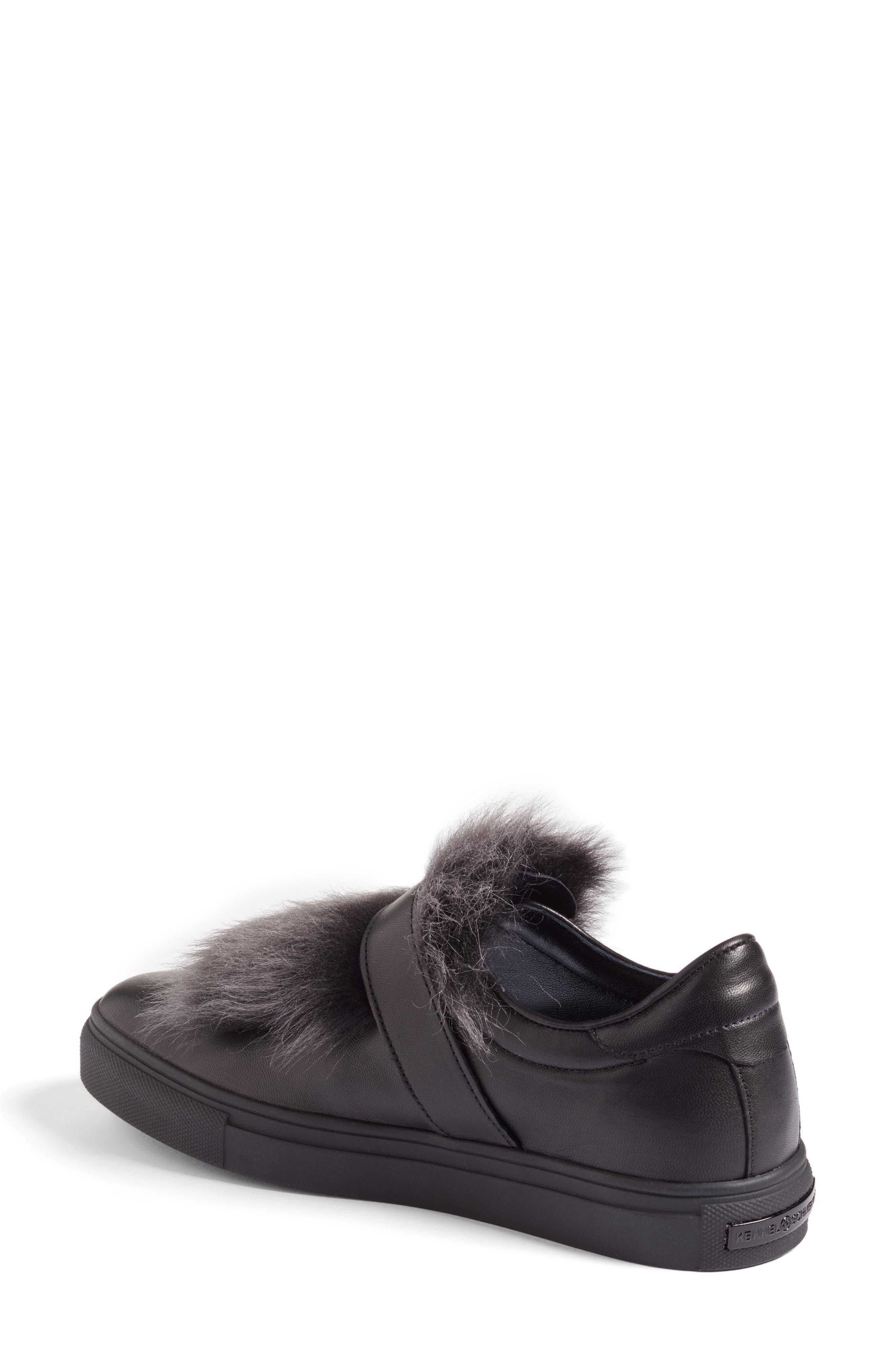 Kennel & Schmenger Basket Slip-On Sneaker with Genuine Shearling Trim,                             Alternate thumbnail 2, color,                             Black