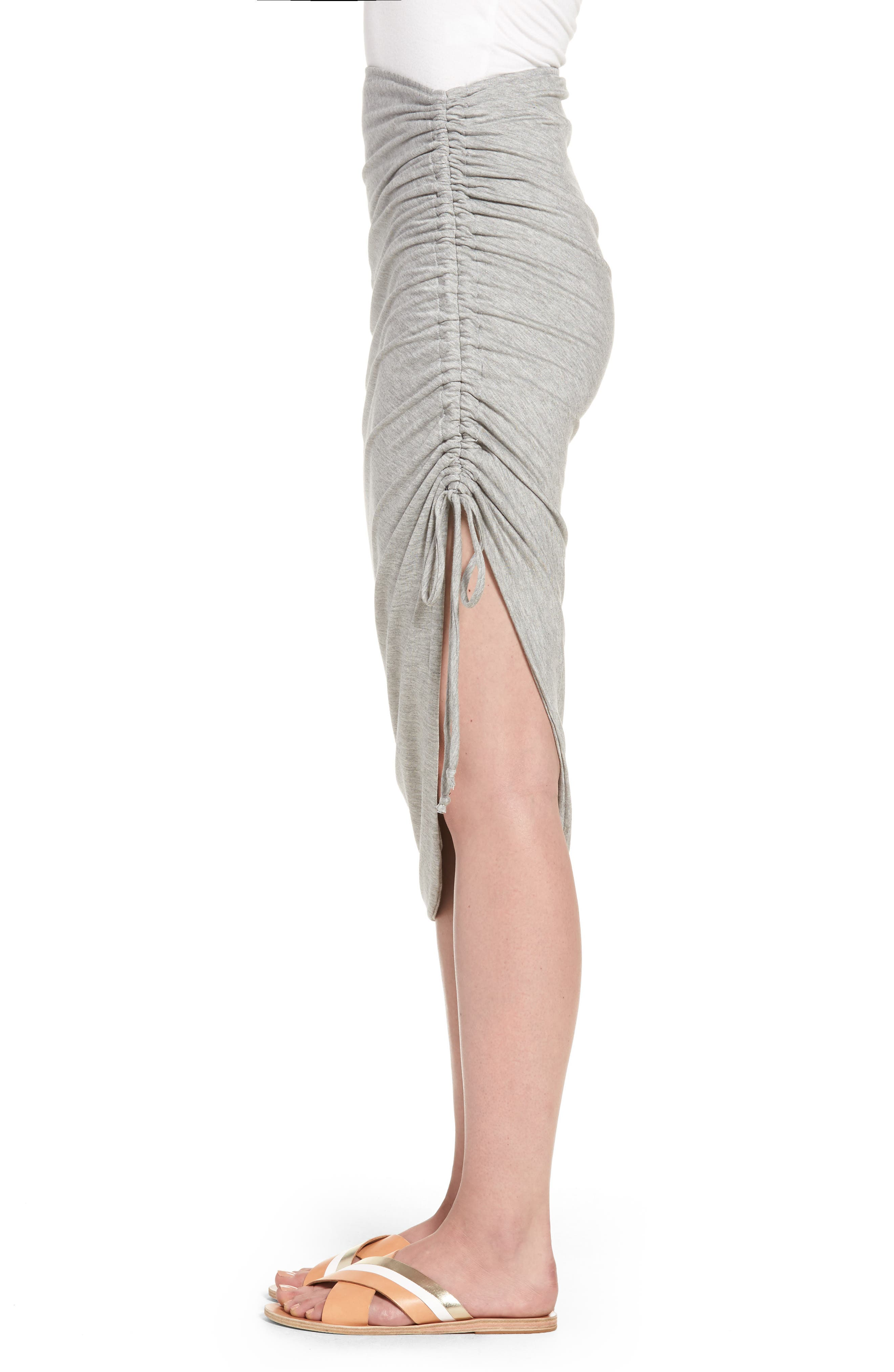 Zoe Ruched Knit Skirt,                             Alternate thumbnail 3, color,                             Heather Grey