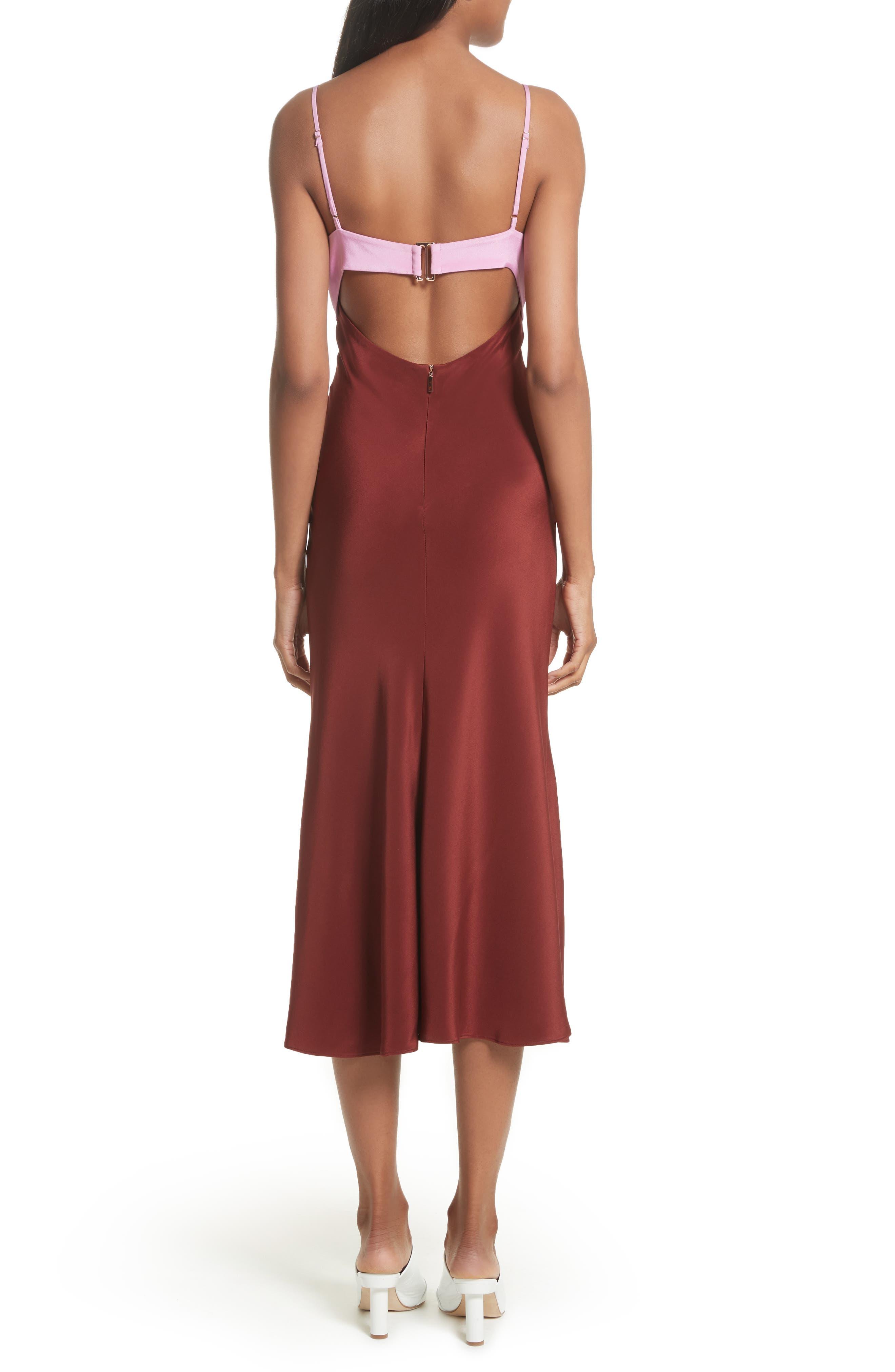 Silk Lingerie Dress,                             Alternate thumbnail 2, color,                             Burnt Red Multi