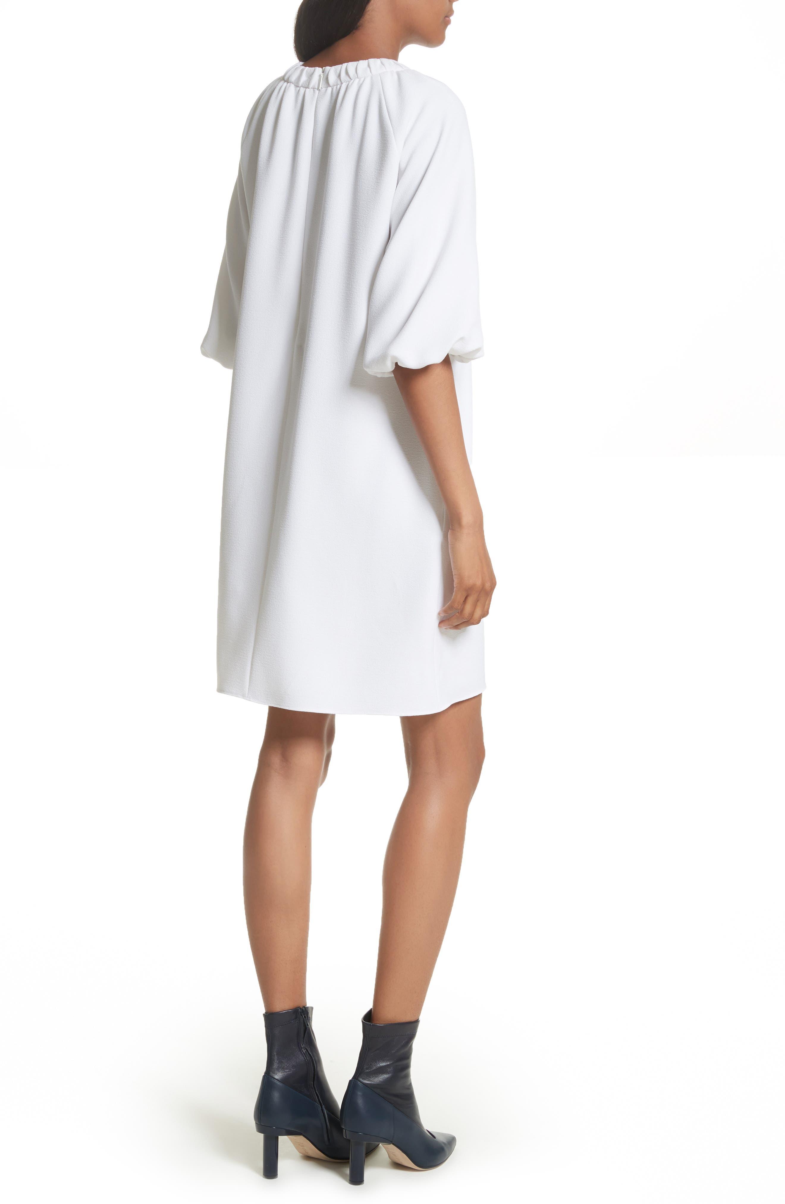 Shirred Neck Mica Crepe Shift Dress,                             Alternate thumbnail 2, color,                             White