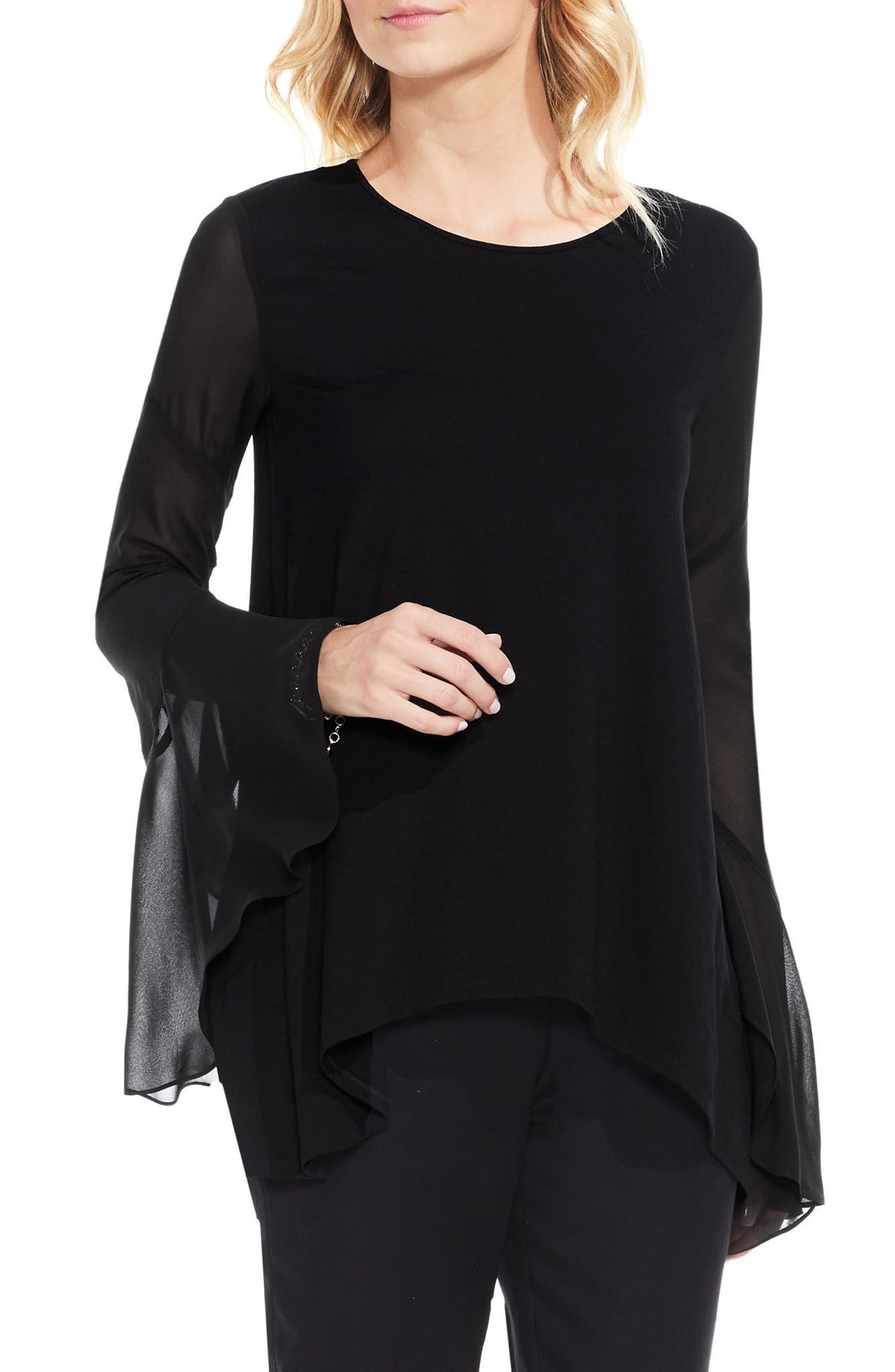 Mix Media Bell Sleeve Blouse,                             Main thumbnail 1, color,                             Rich Black