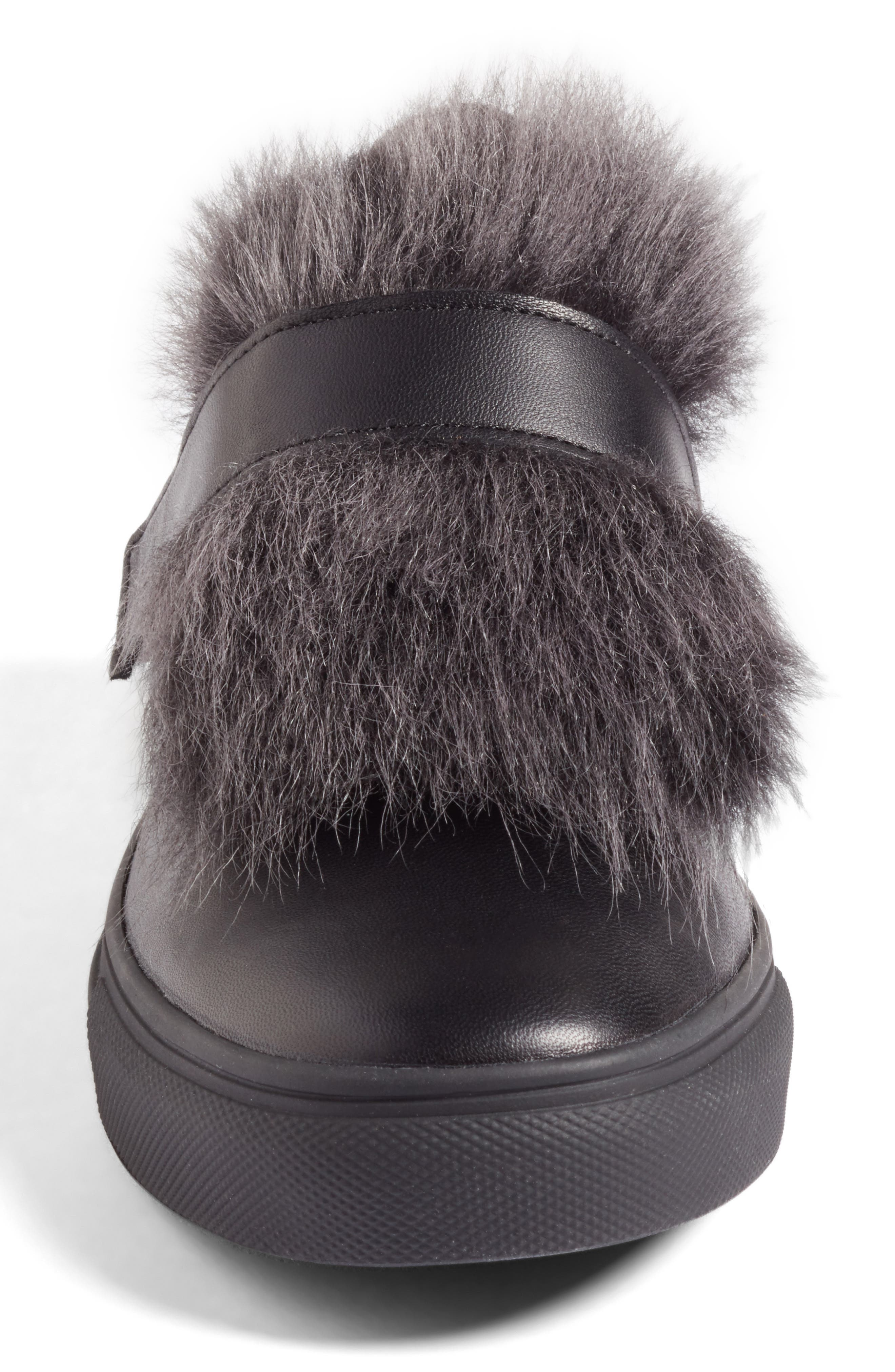 Kennel & Schmenger Basket Slip-On Sneaker with Genuine Shearling Trim,                             Alternate thumbnail 4, color,                             Black