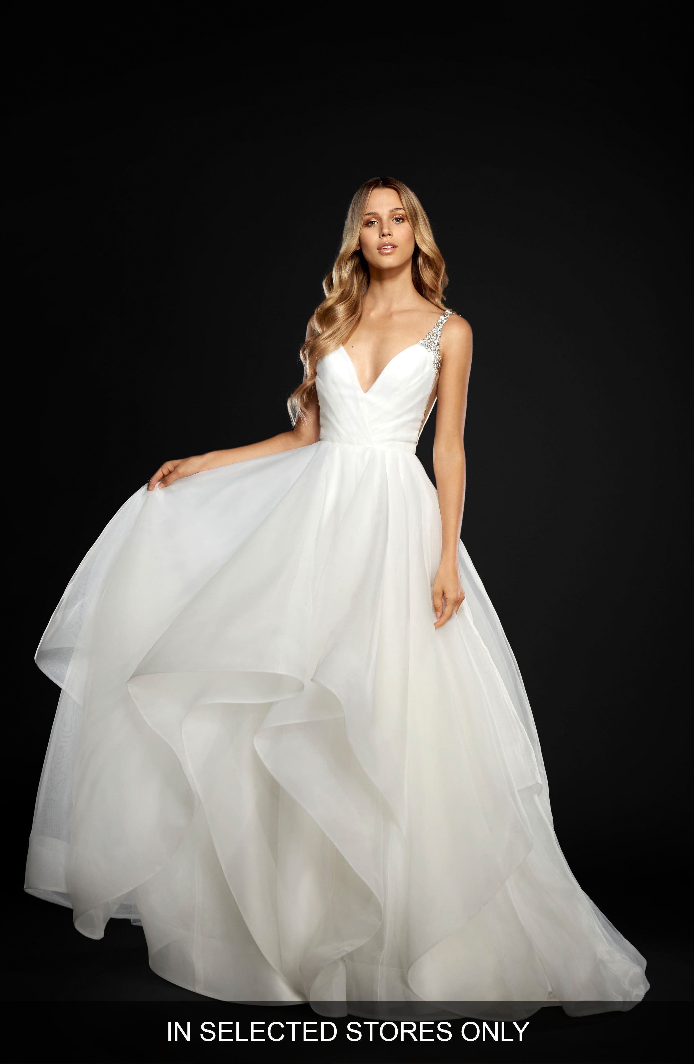 Main Image - Hayley Paige Dare Embellished Draped Organza Ballgown