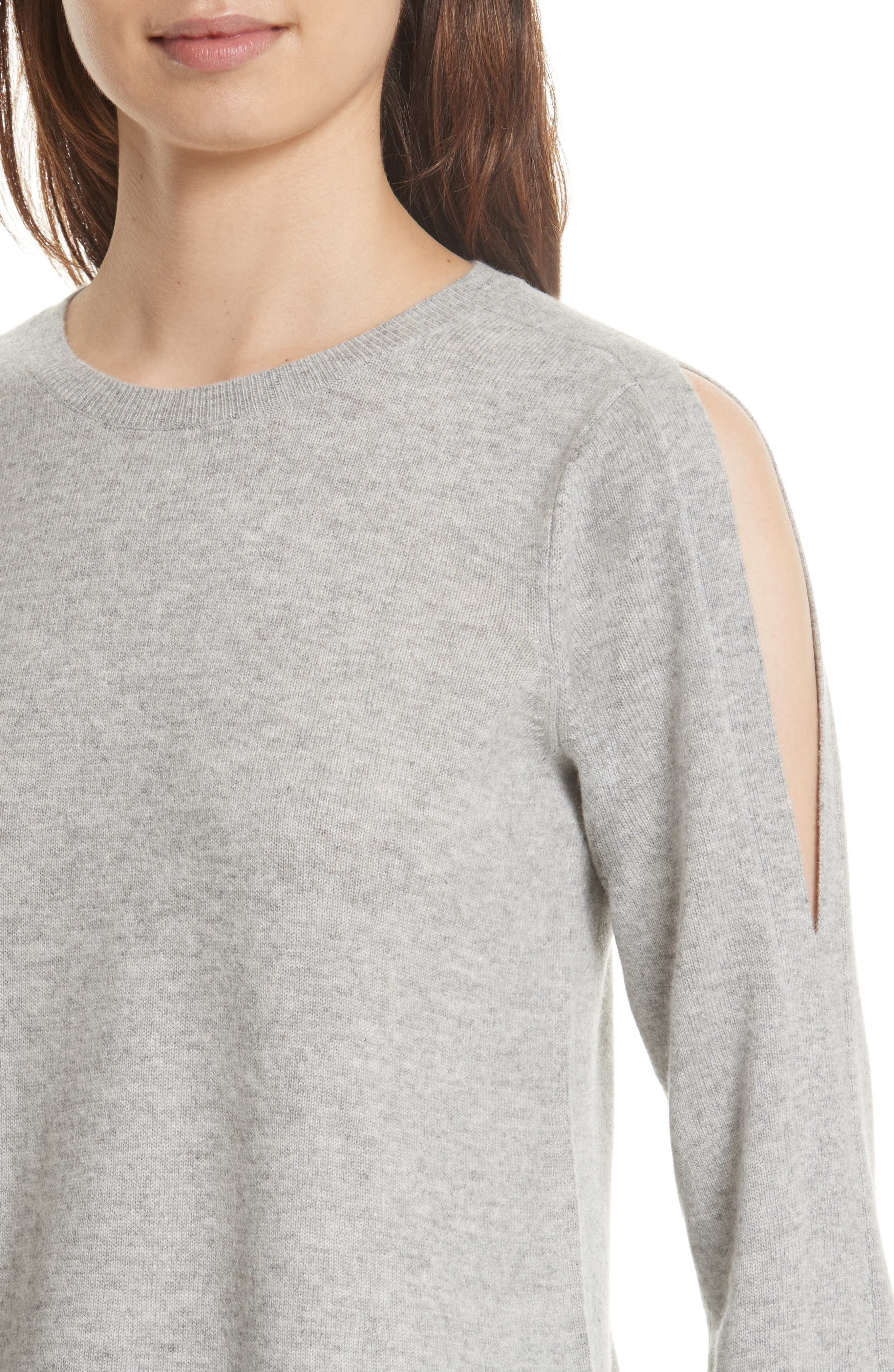 Amalyn Cold Shoulder Wool & Cashmere Sweater,                             Alternate thumbnail 4, color,                             Ash Heather Grey