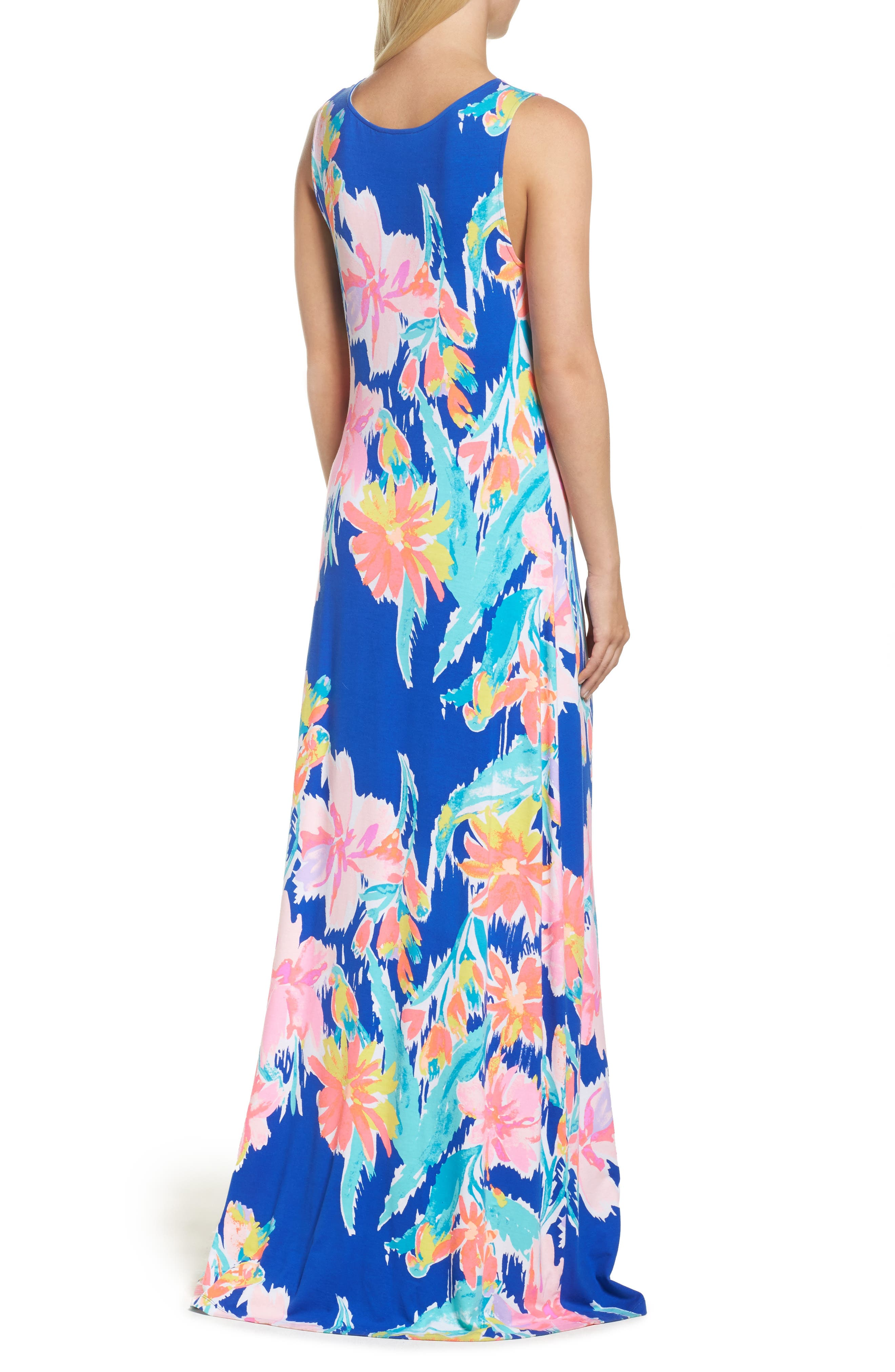 Natalia Maxi Dress,                             Alternate thumbnail 2, color,                             Blue Current