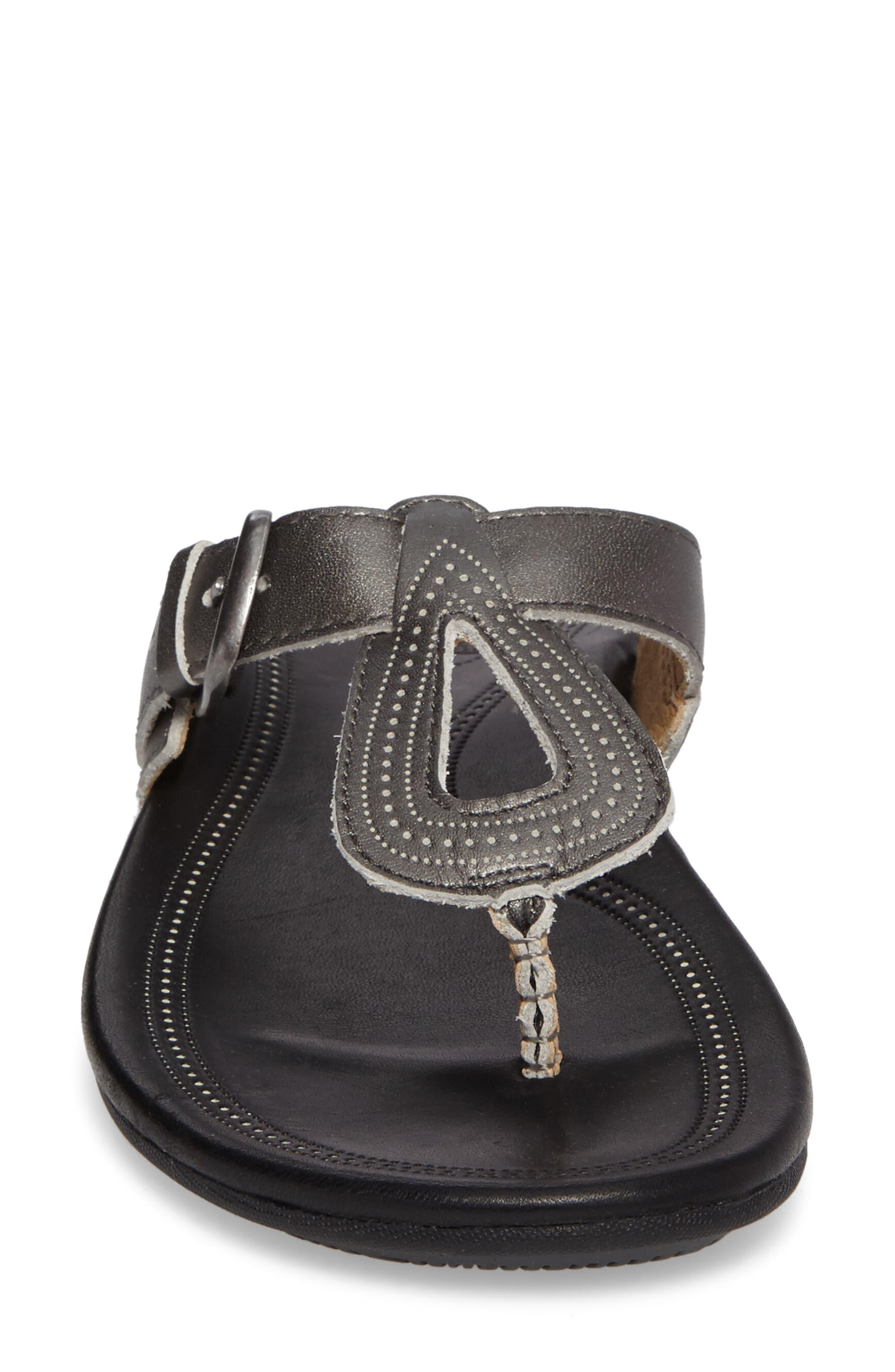 Lanakila Buckle Flip Flop Women),                             Alternate thumbnail 4, color,                             Pewter/ Black Leather
