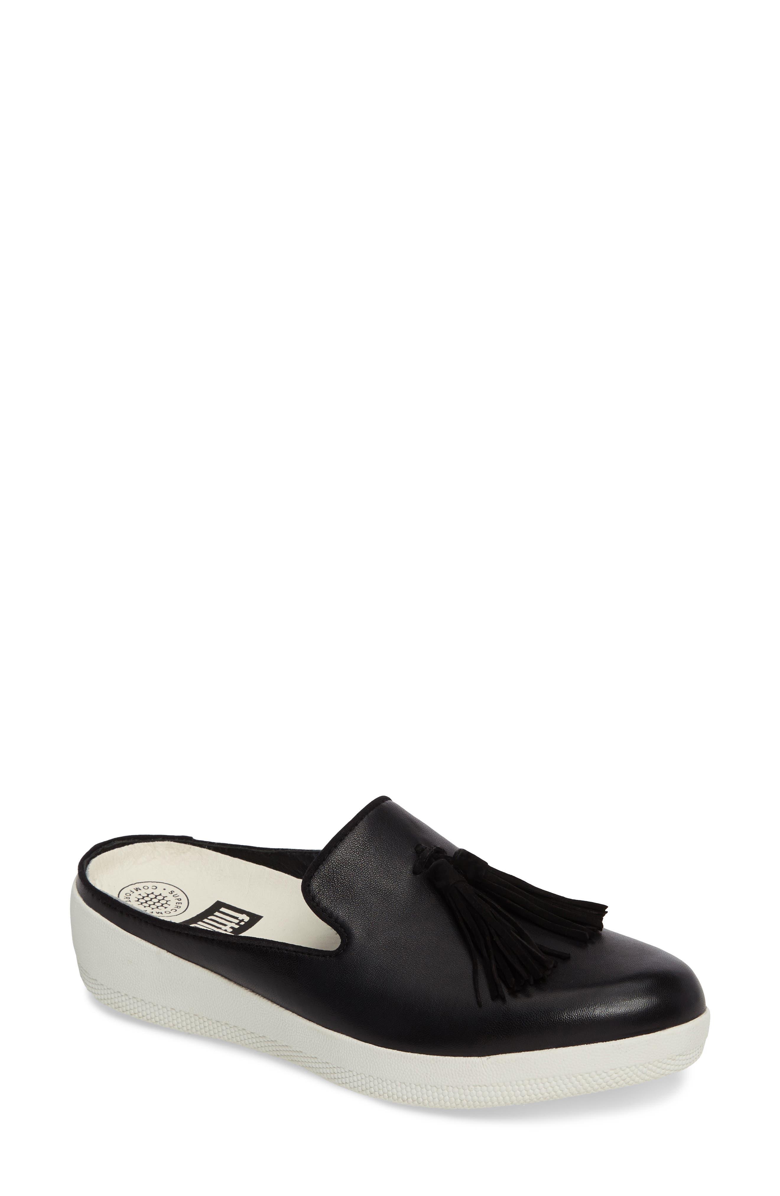 Alternate Image 1 Selected - FitFlop Superskate Tasseled Loafer Mule (Women)