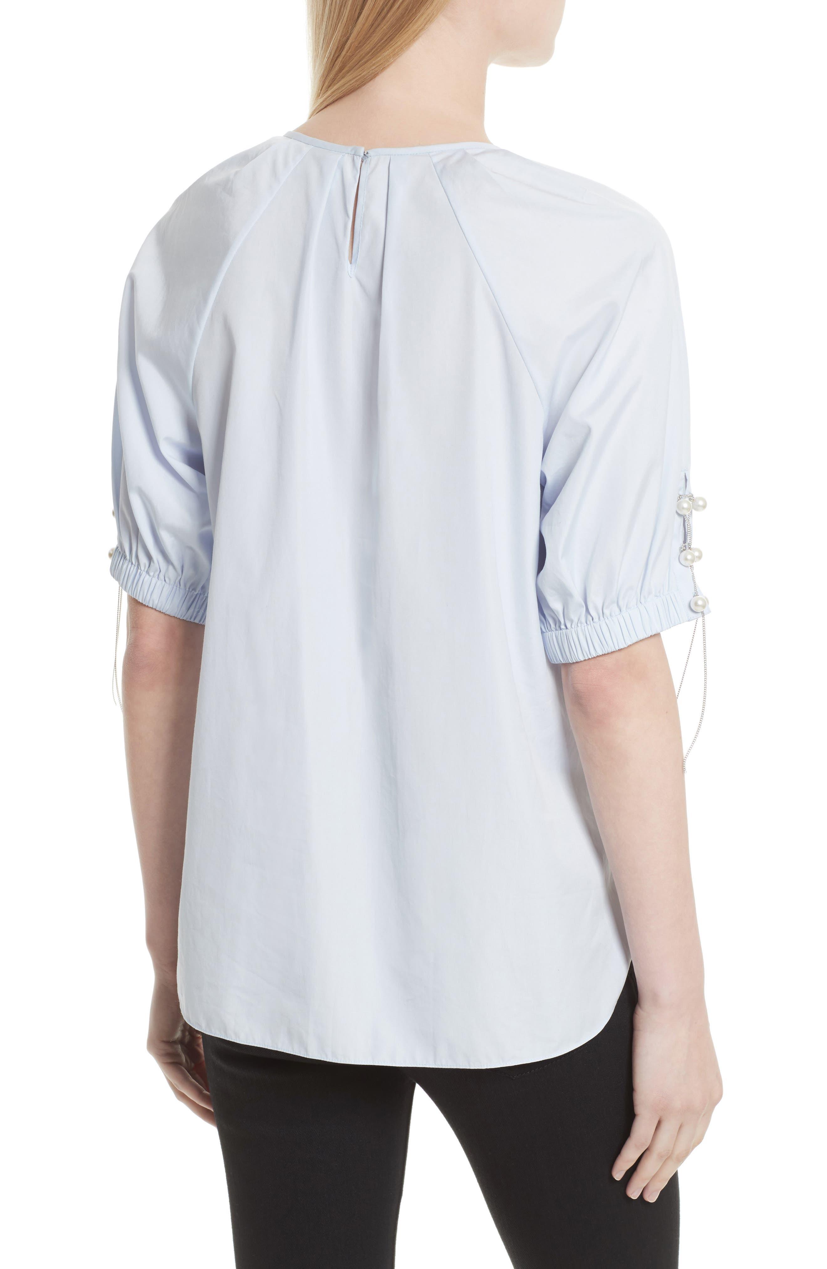 Alternate Image 2  - 3.1 Phillip Lim Faux Pearl & Chain Lacing Cotton Top