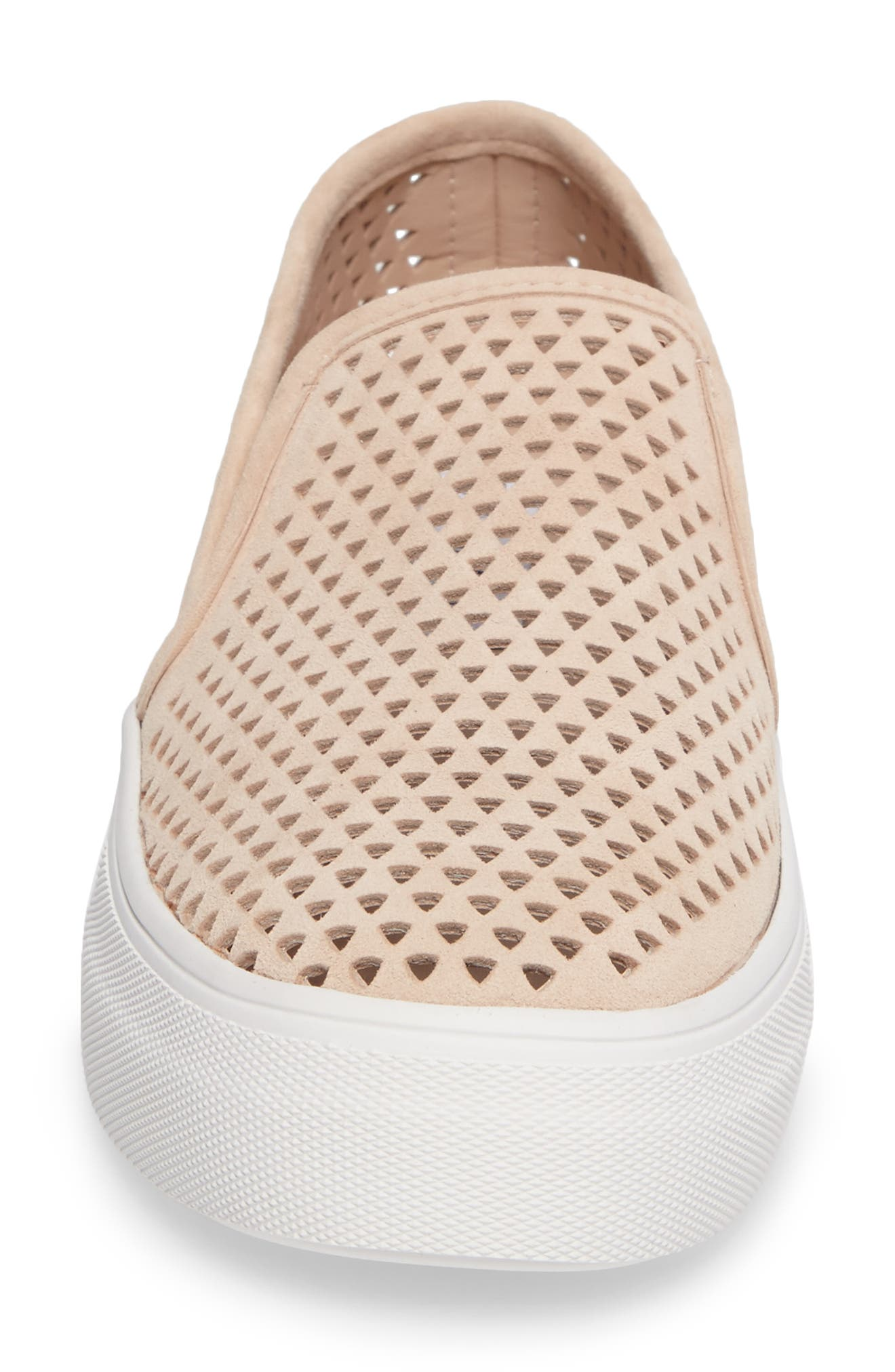 Gills Perforated Slip-On Sneaker,                             Alternate thumbnail 4, color,                             Natural Suede