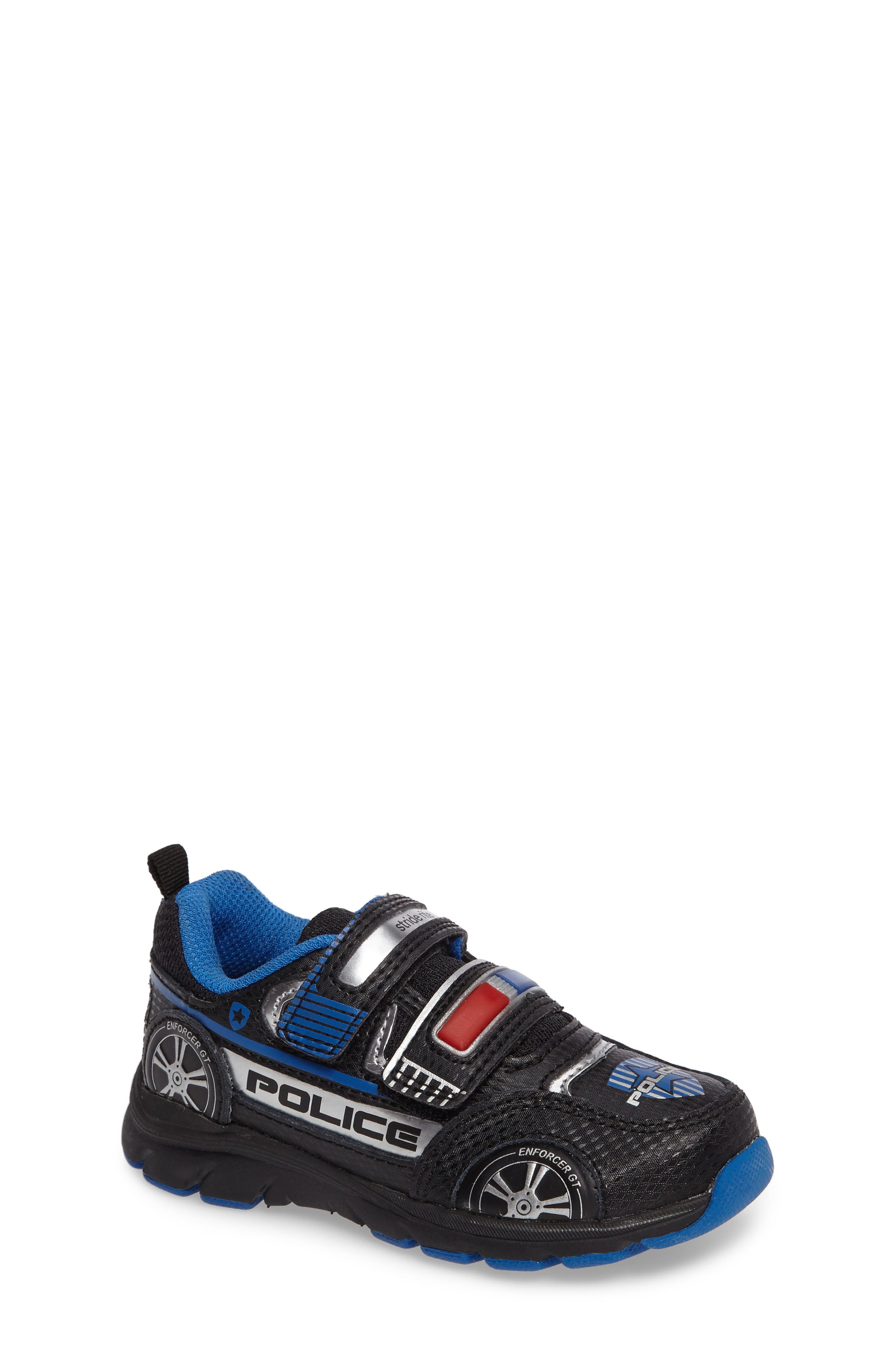 Vroomz Light-Up Police Car Sneaker,                             Main thumbnail 1, color,                             Black/ Silver