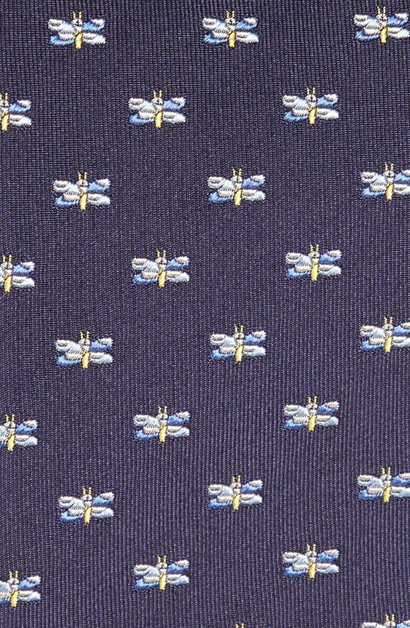 Dragonfly Silk Tie,                             Alternate thumbnail 2, color,                             Navy