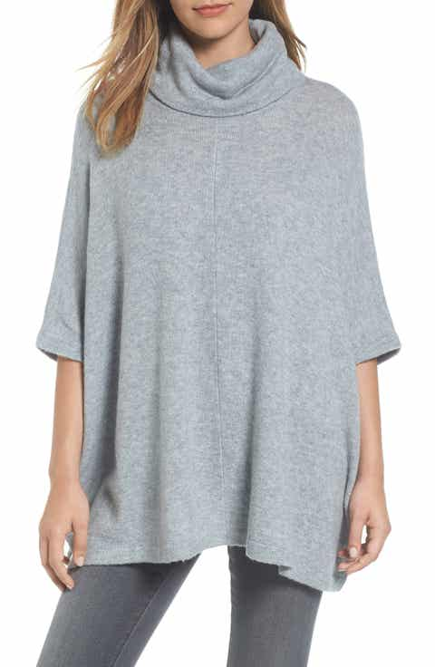 Caslon® Cowl Neck Sweater Poncho (Regular & Petite)