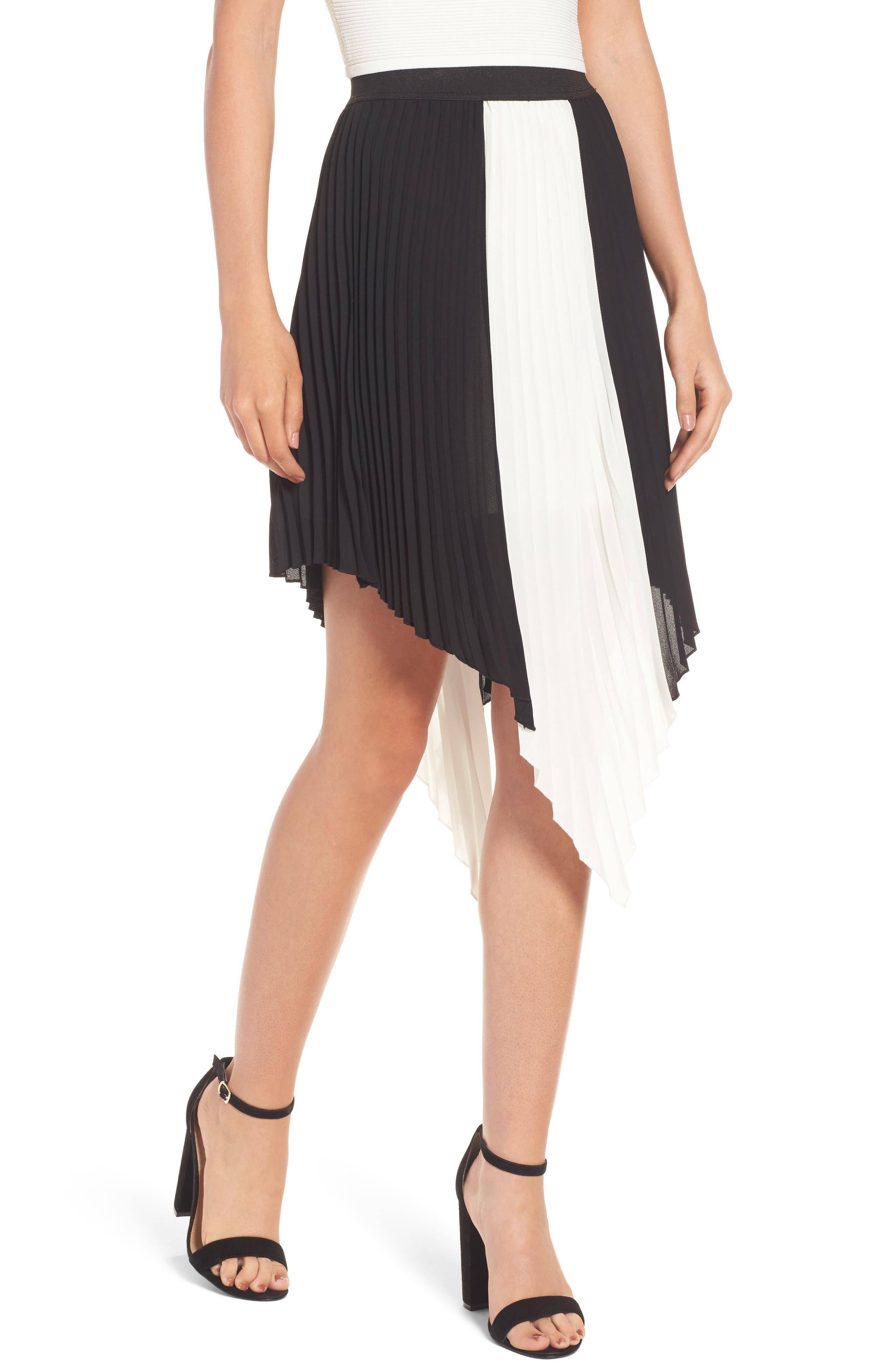 BP. Colorblock Pleated Asymmetrical Skirt