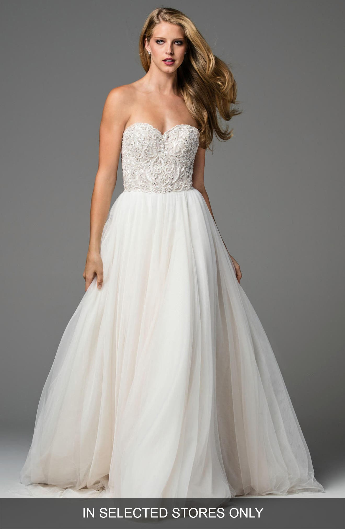 Rosina Embellished Strapless Lace & Tulle A-Line Gown,                             Main thumbnail 1, color,                             Reisling