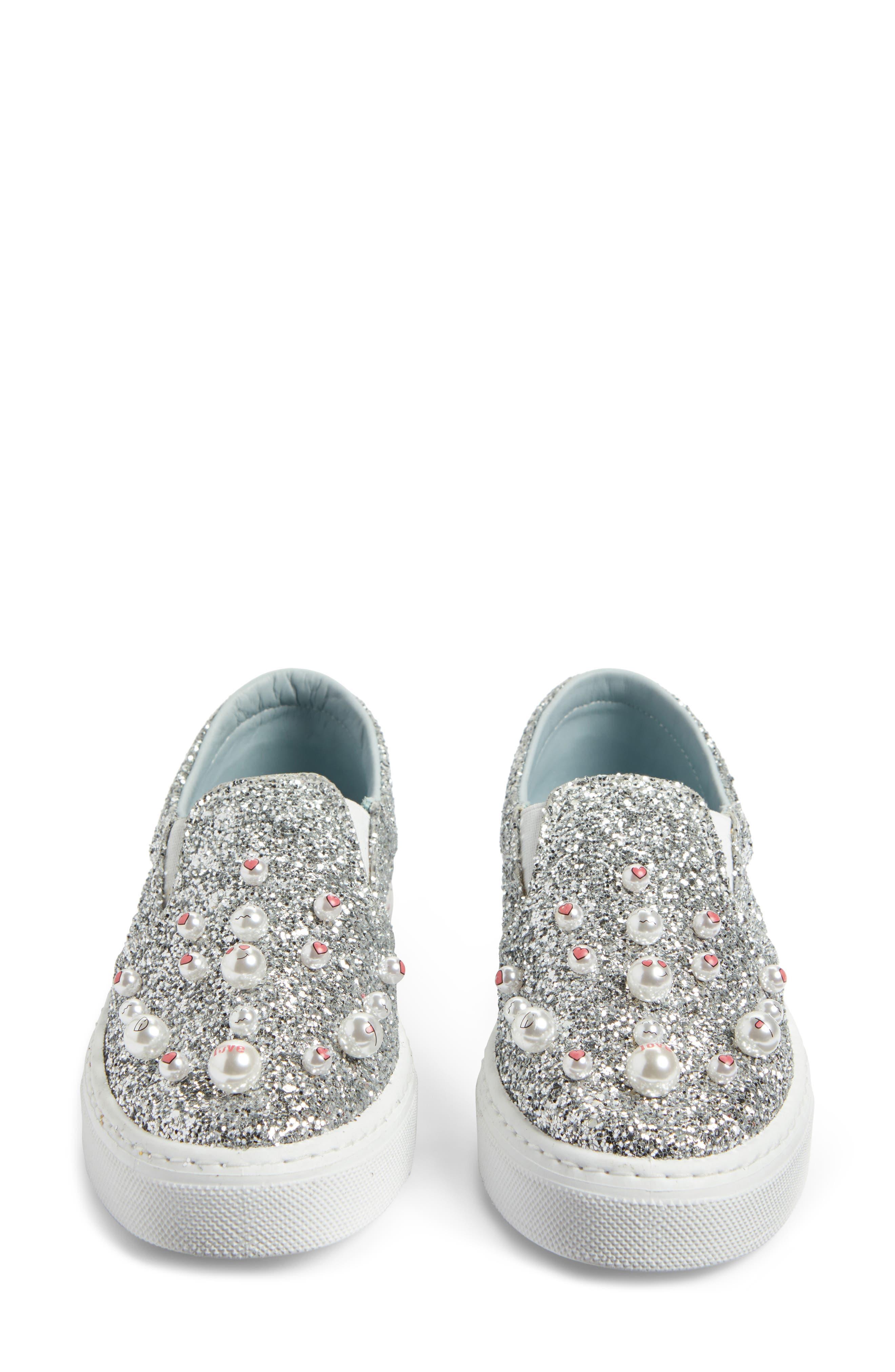 Candies Embellished Slip-On Sneaker,                             Alternate thumbnail 5, color,                             Silver