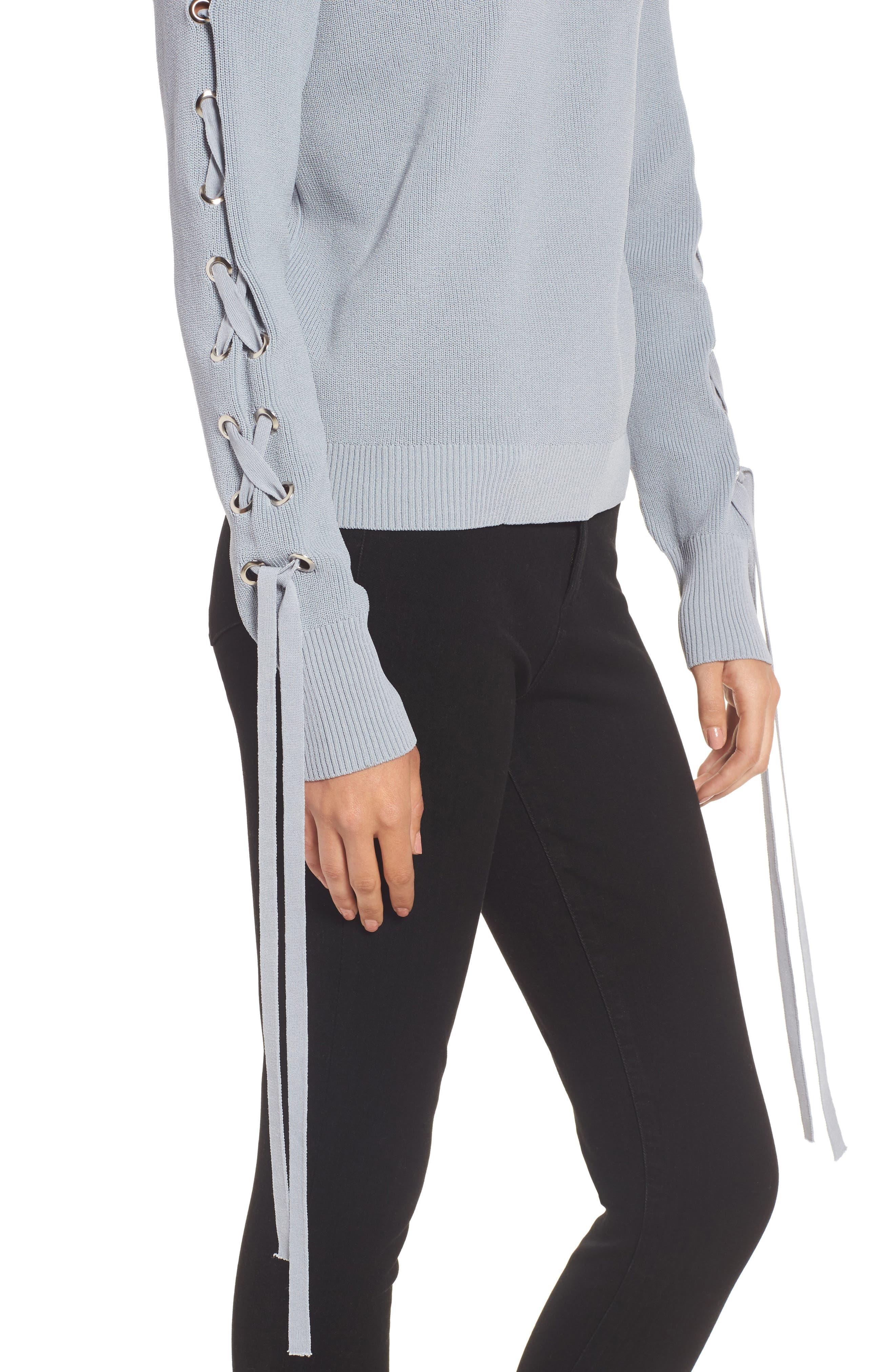 Alternate Image 4  - J.O.A. Lace-Up Sleeve Sweater