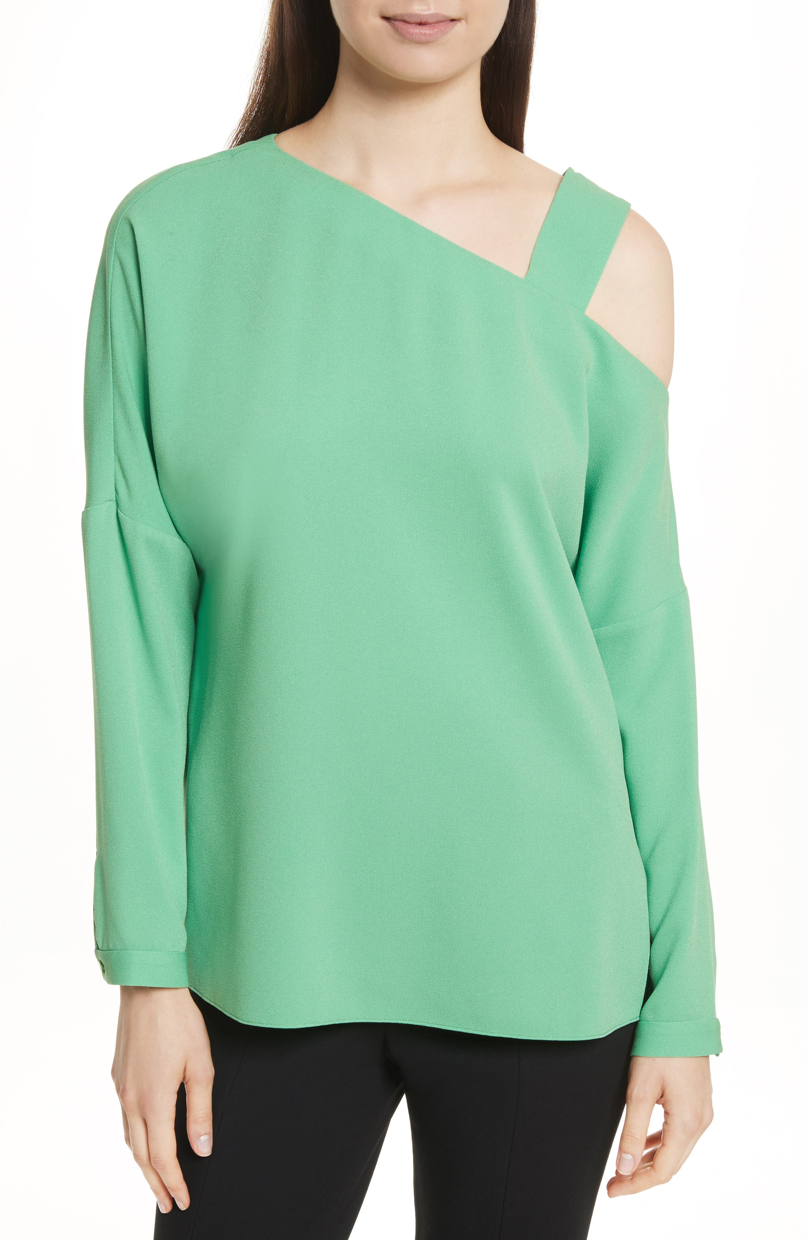 Cutout Shoulder Crepe Top,                         Main,                         color, Kelly Green